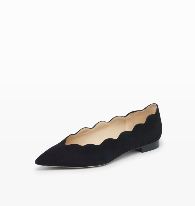 Black Suede Scalloped Flat Pointed Toe