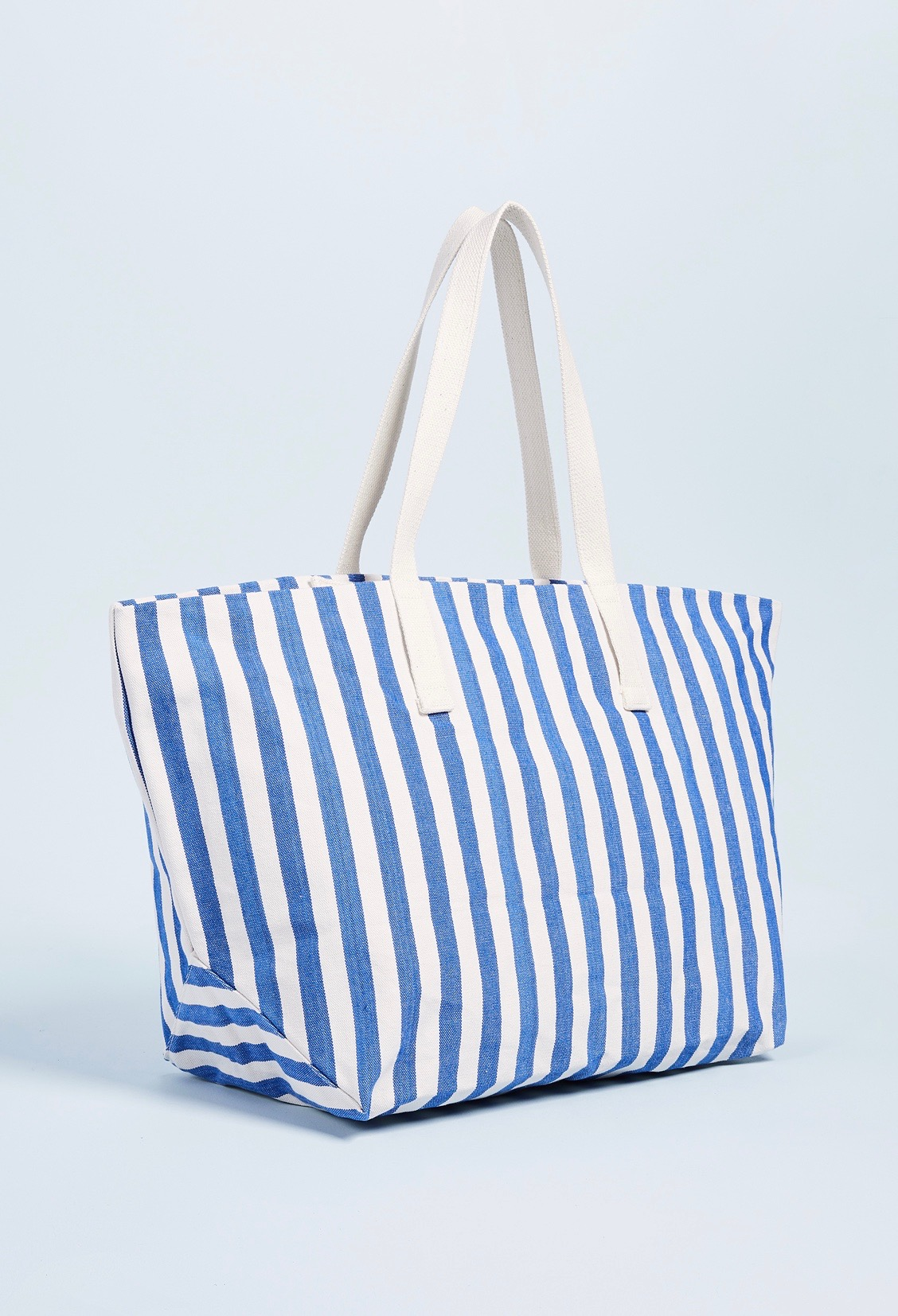 Blue and White Stripe Canvas Weekender Travel Bag