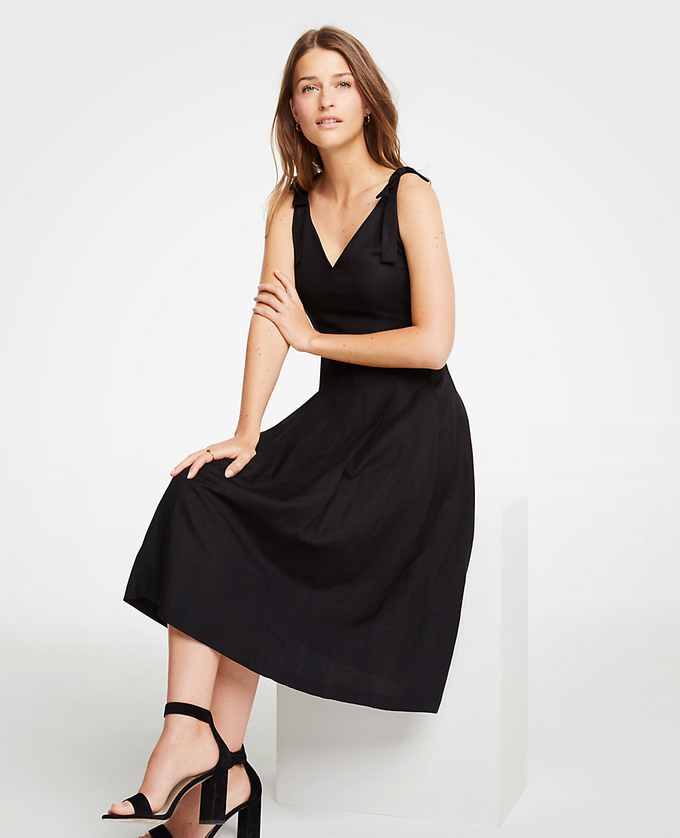 Bow Tie Shoulder Black Midi Dress