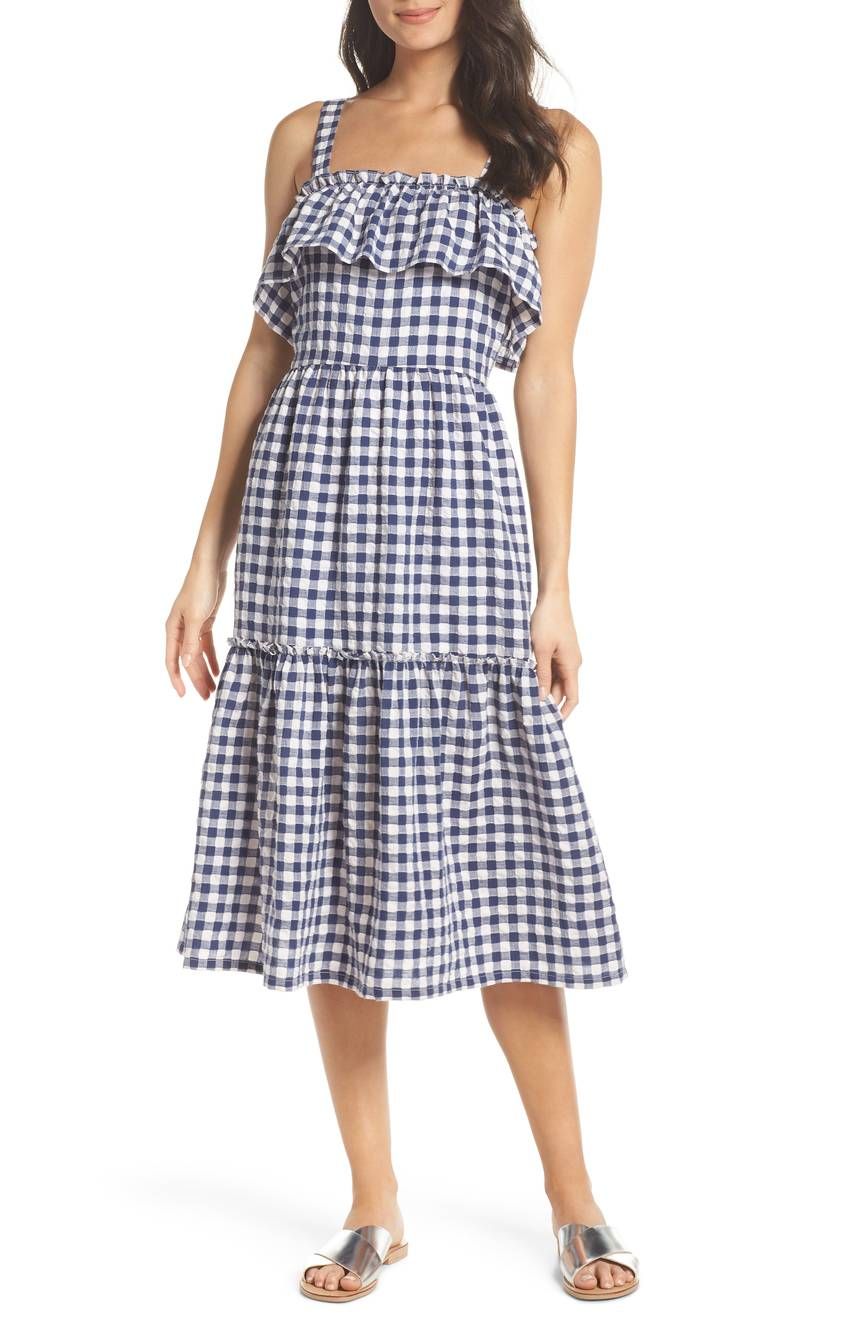 Tiered Gingham Midi Dress Navy Blue