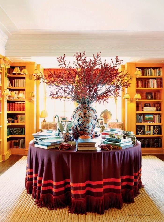 Tory Burch Manhattan Home Skirted Table Imari Porcelain Orange Bookcases Sisal Rug
