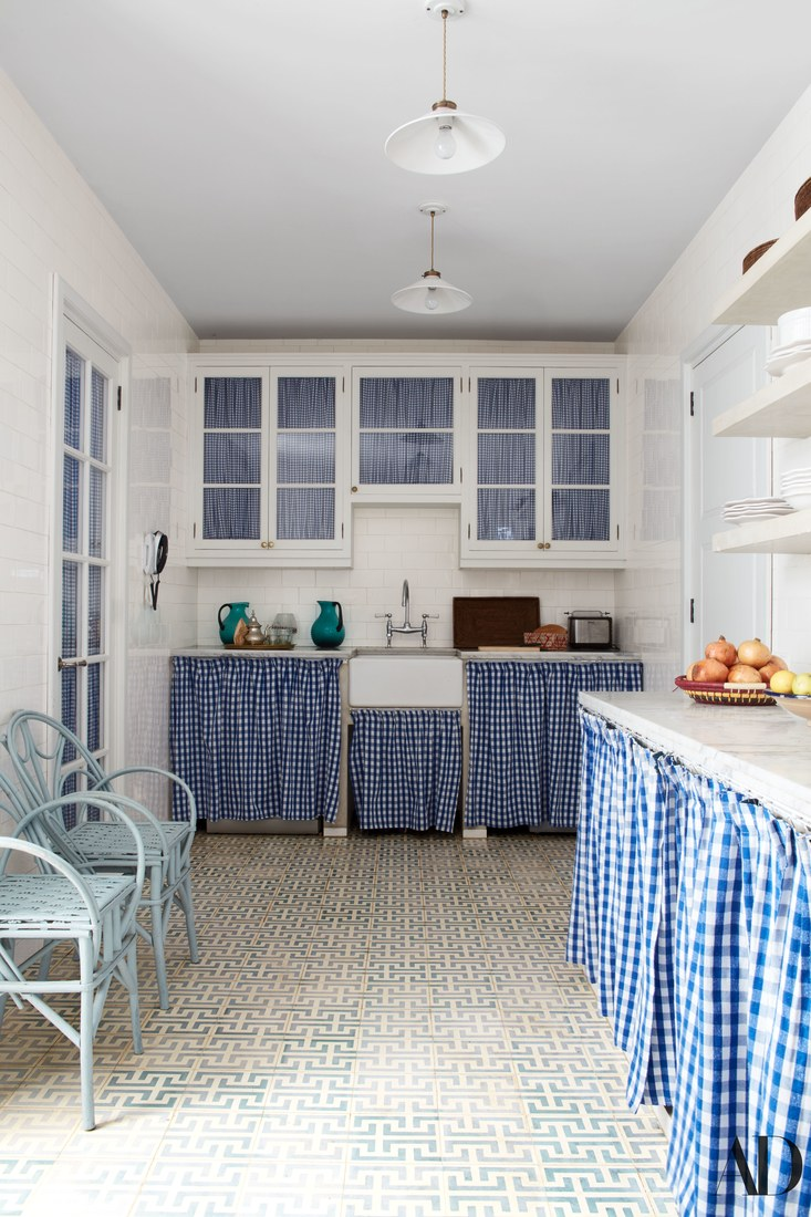 Blue Gingham Kitchen Veere Grenney Tangier Morocco Home