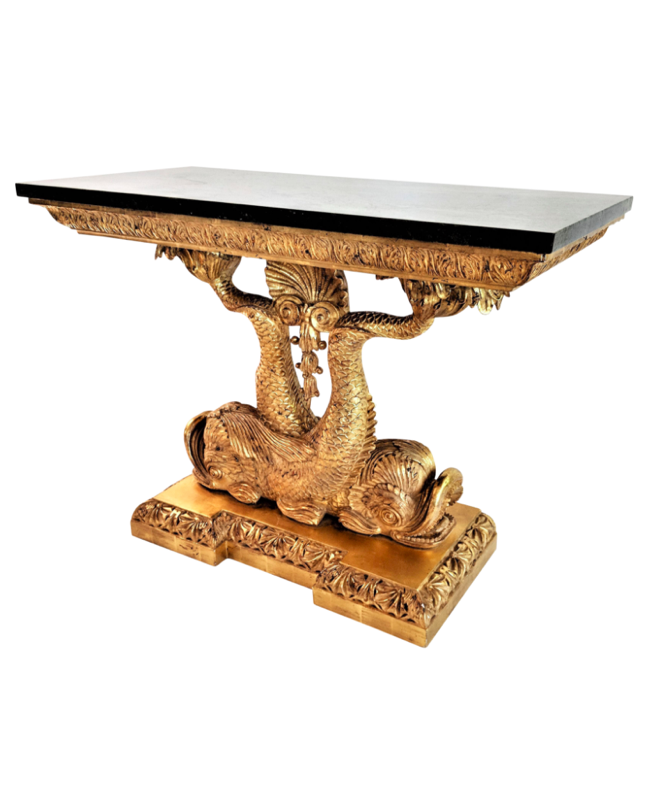 Vintage Koi Fish Dolphin Gold Console Table with Marble Top