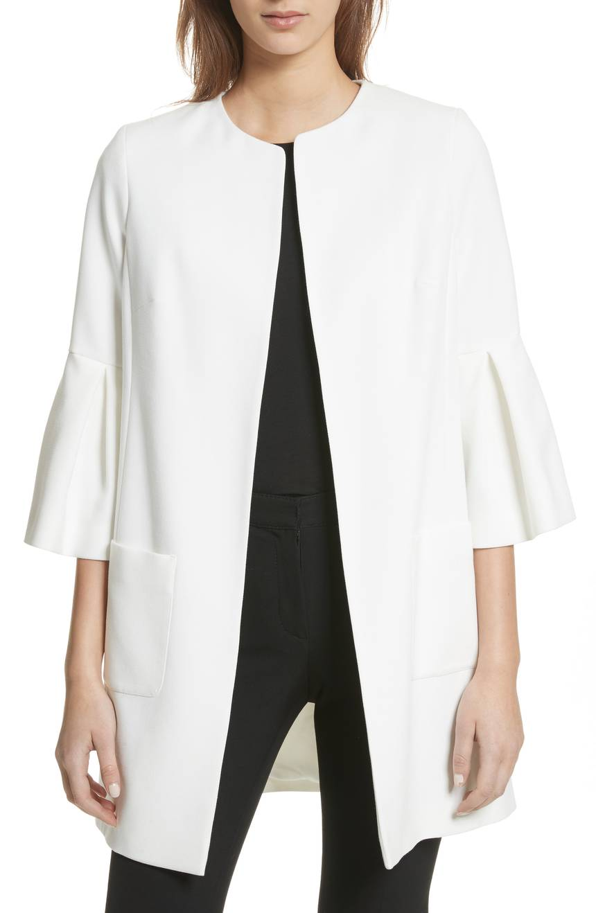 White Open Front Flared Sleeve Jacket Coat
