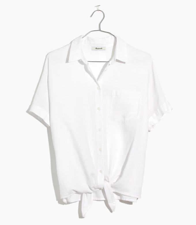White Short Sleeve Tie-Front Shirt