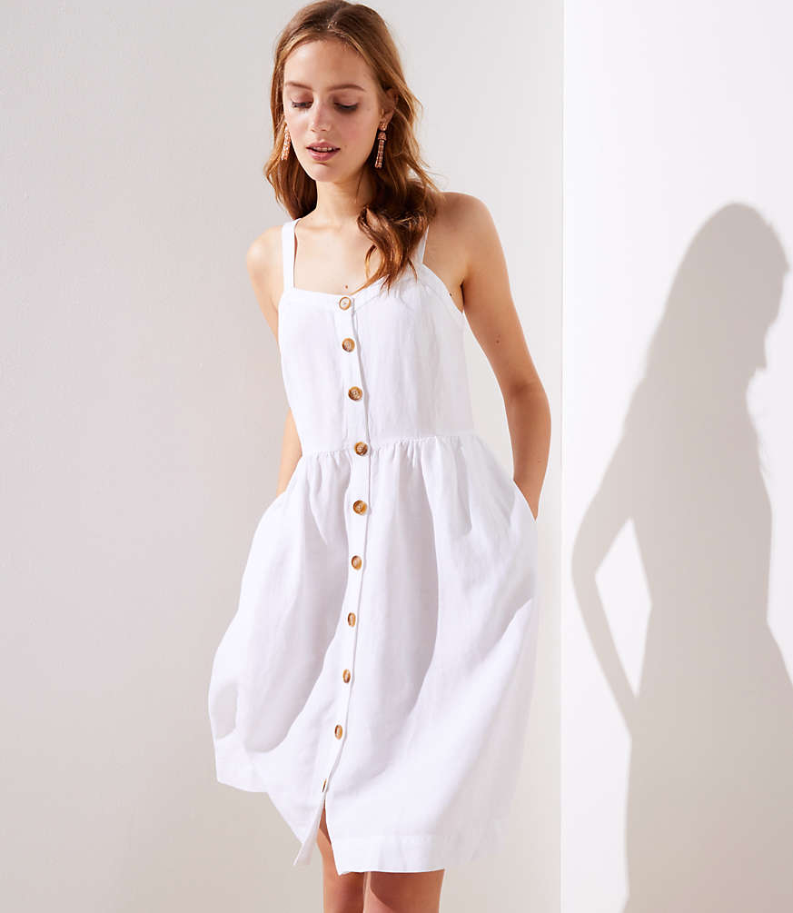 Strappy Button-Down White Dress with Pockets