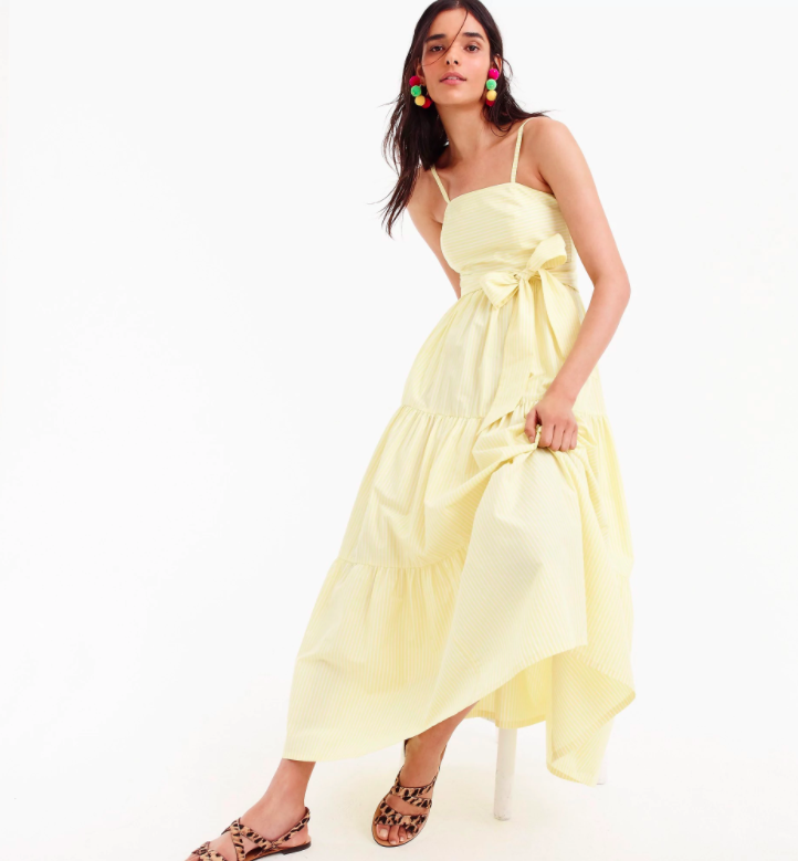 Yellow Striped Maxi Dress Tiered