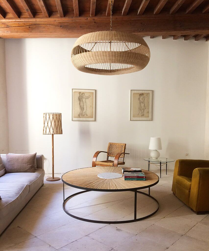 Atelier Vime Woven Rattan Pendant Light Exposed Beams French Country Minimalist Living Room Katie Considers