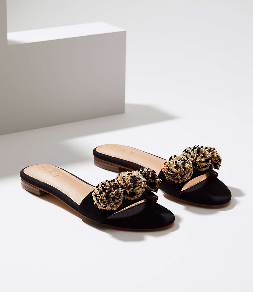 Black Raffia Pom Pom Slide Sandals