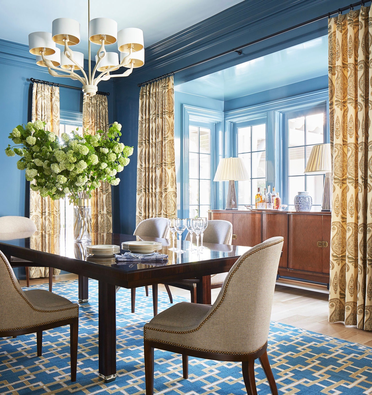 blue-dining-room-walls-iron-curtain-hardware-paisley ... on Dining Room Curtains  id=77019