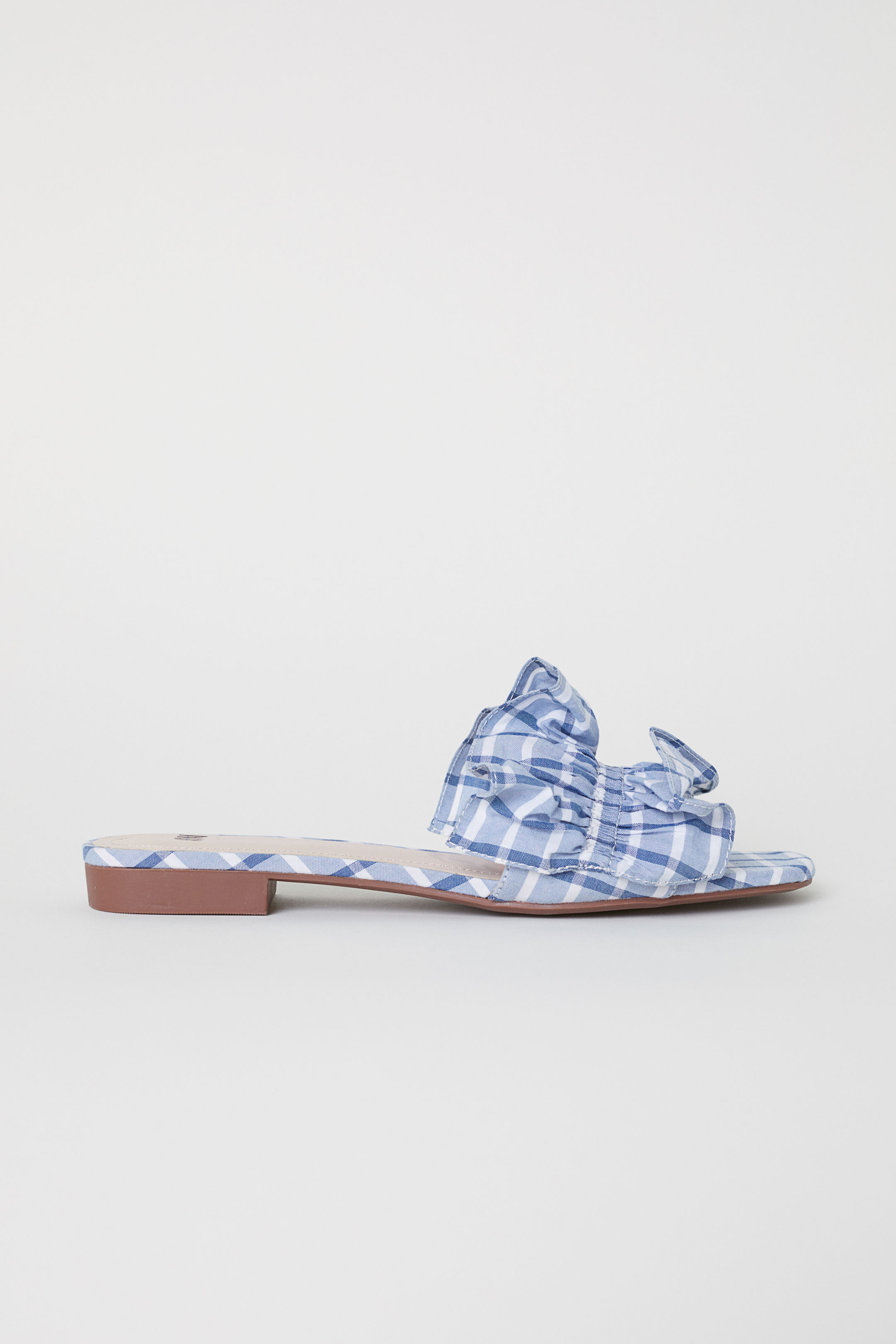 Blue Plaid Ruffled Slides