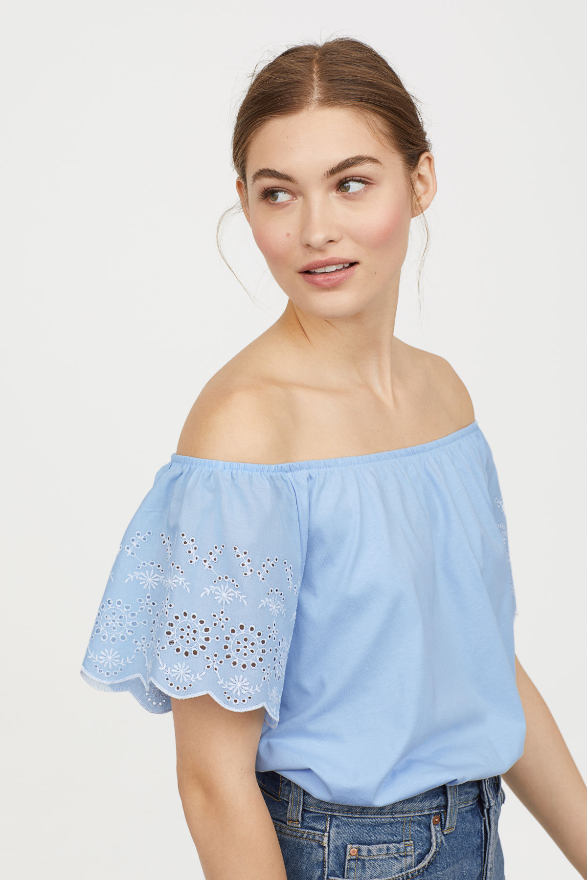 Blue Embroidered Off-the-Shoulder Top