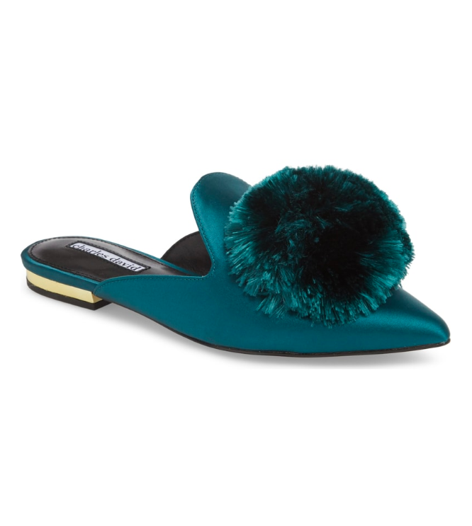 Turquoise Blue Pom Pom Pointed Loafer Mule