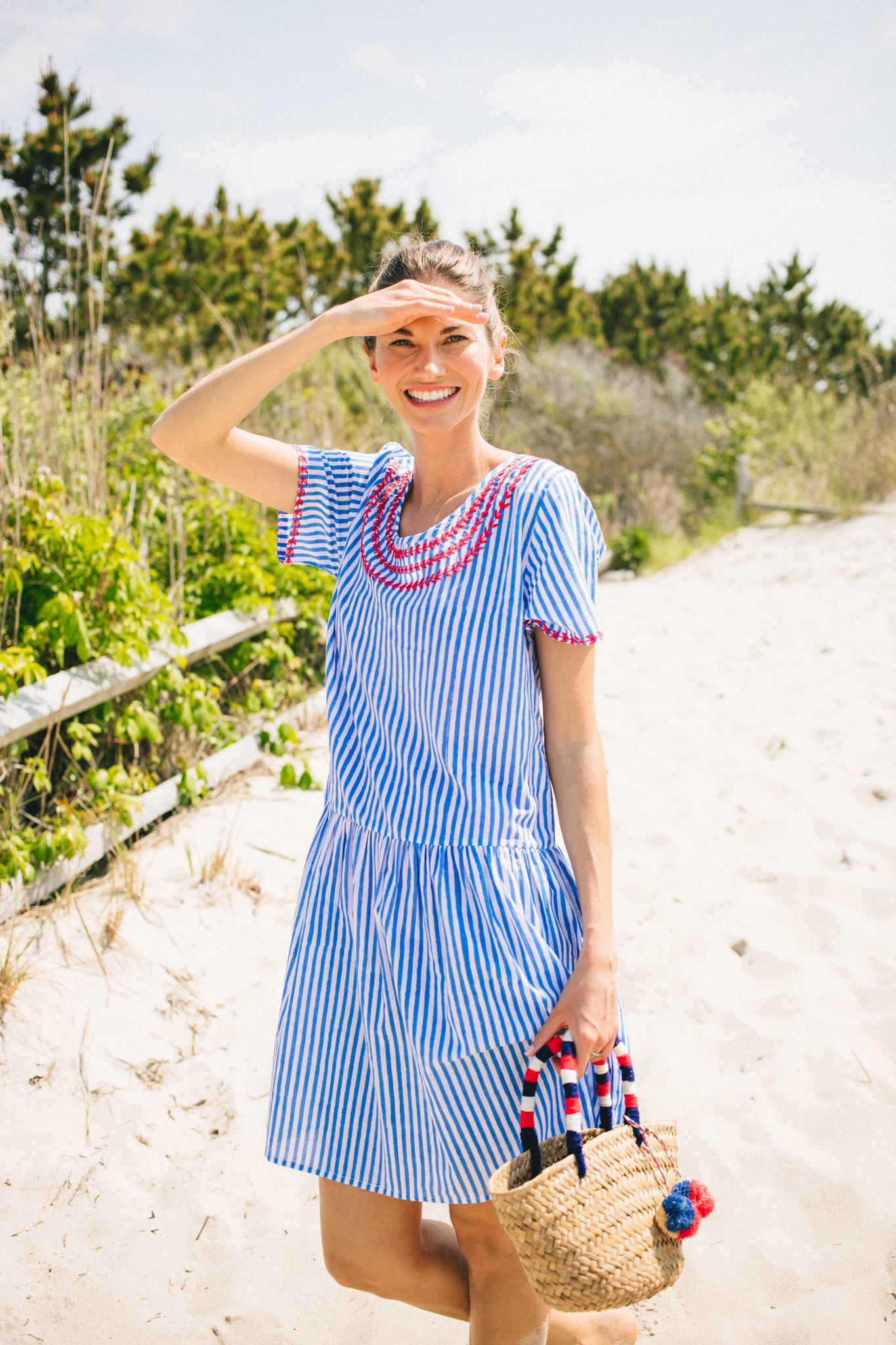 Blue and White Stripe Dress with Red Embroidery