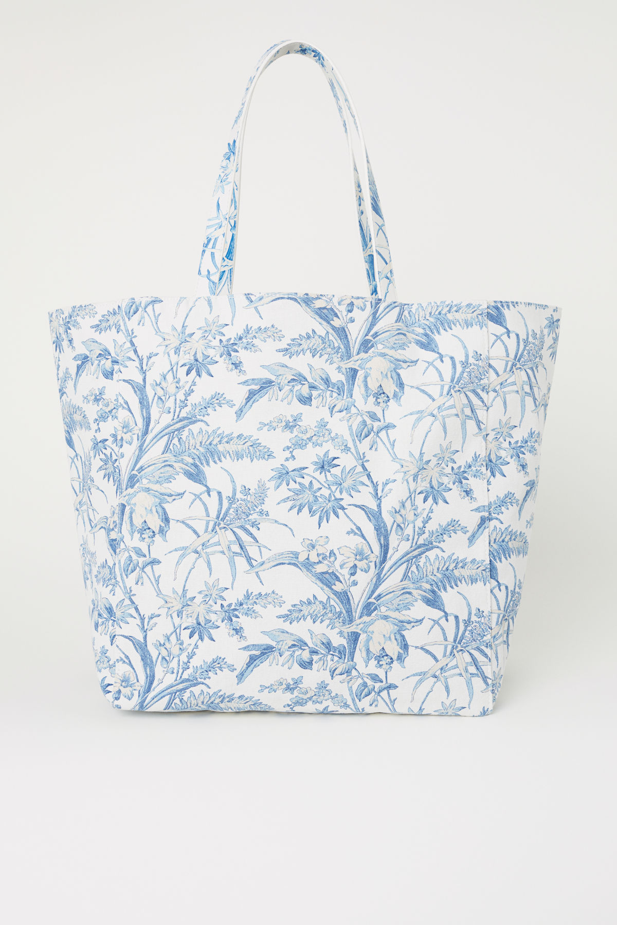 Blue and White Toile Canvas Shopper Tote