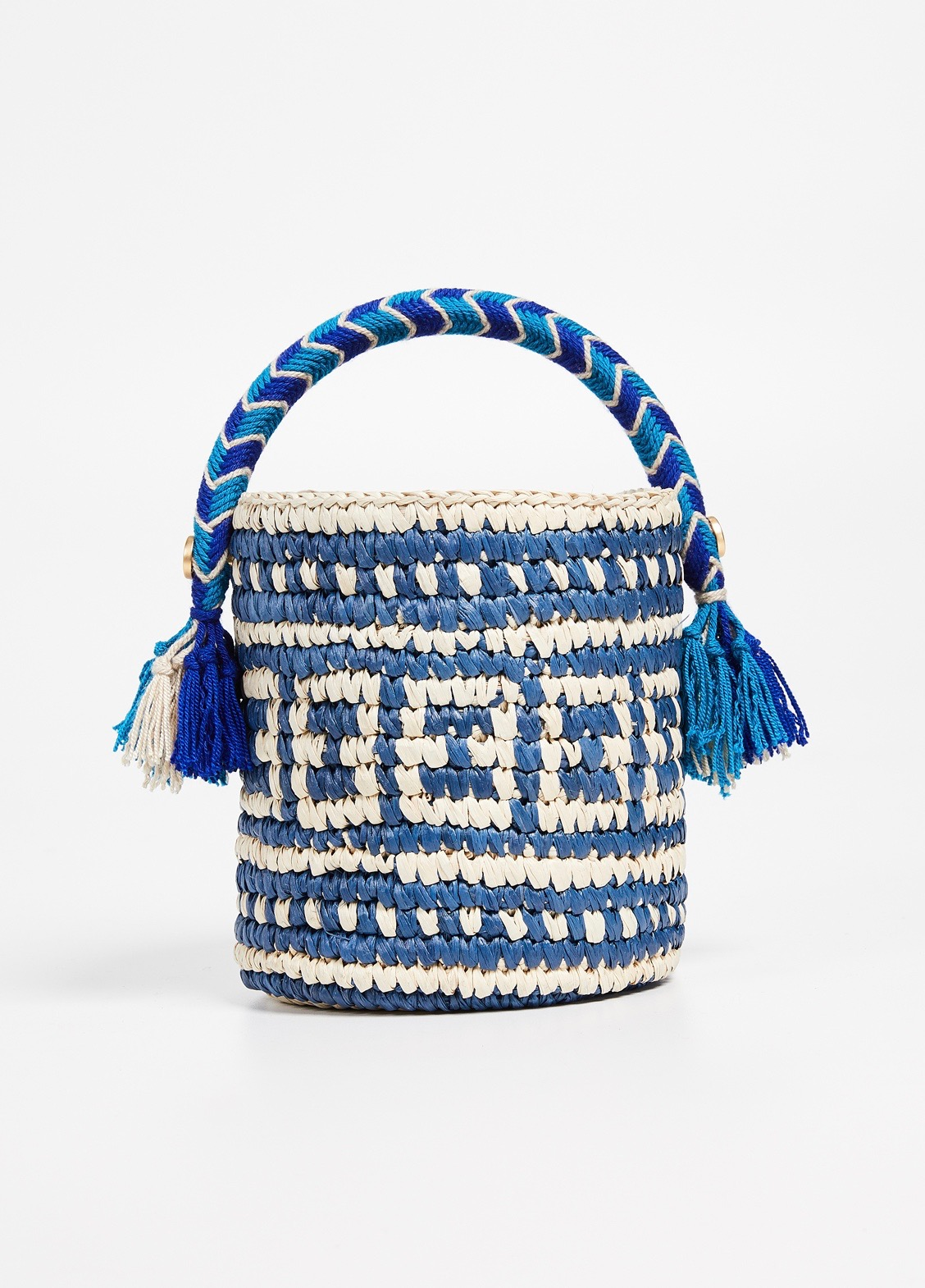 Blue Woven Straw Bucket Bag