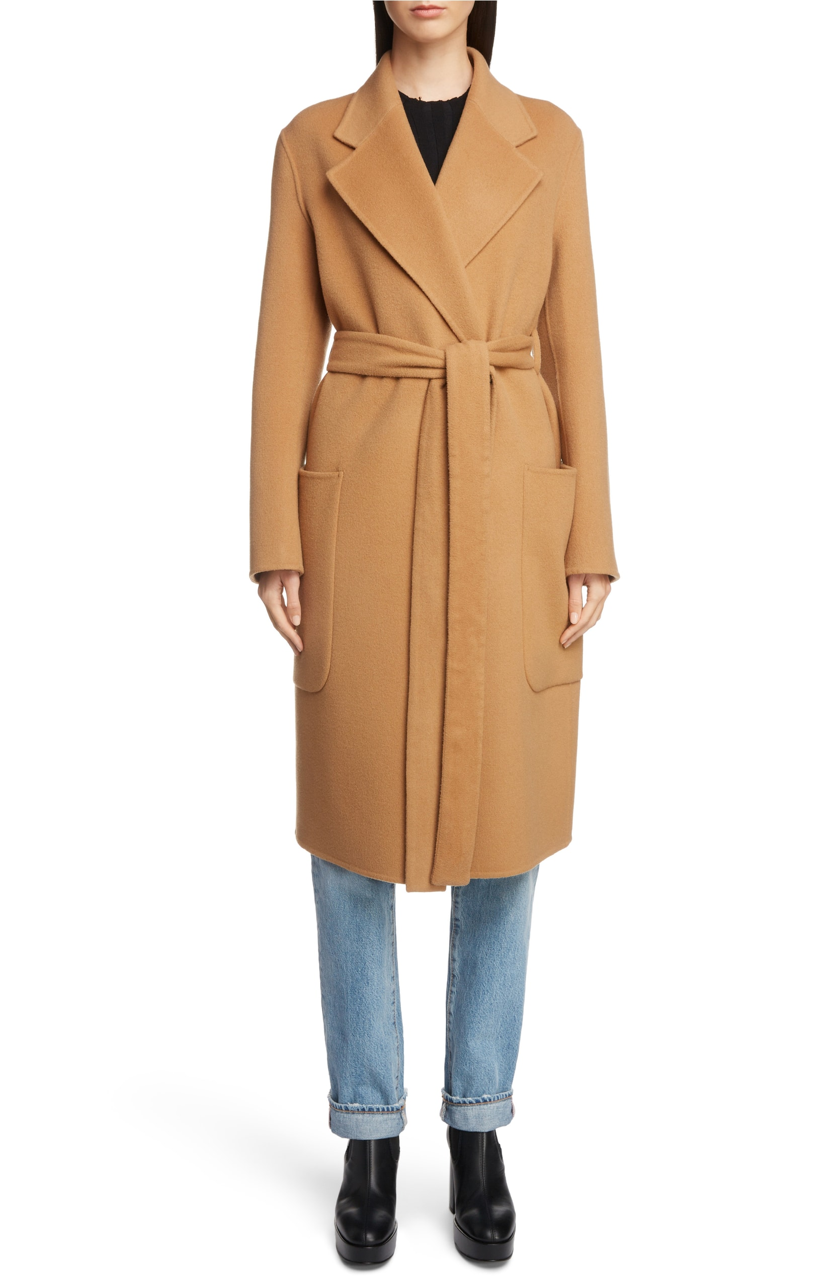 Belted Camel Coat Cashmere Wool Acne