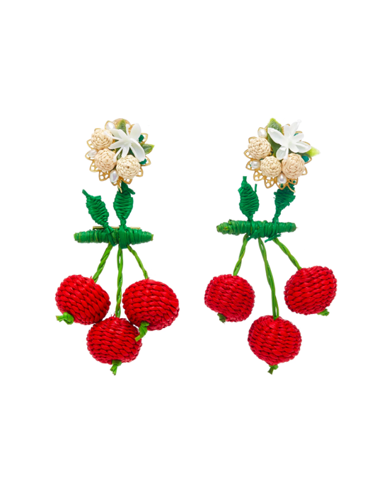 Cherry Raffia Drop Earrings