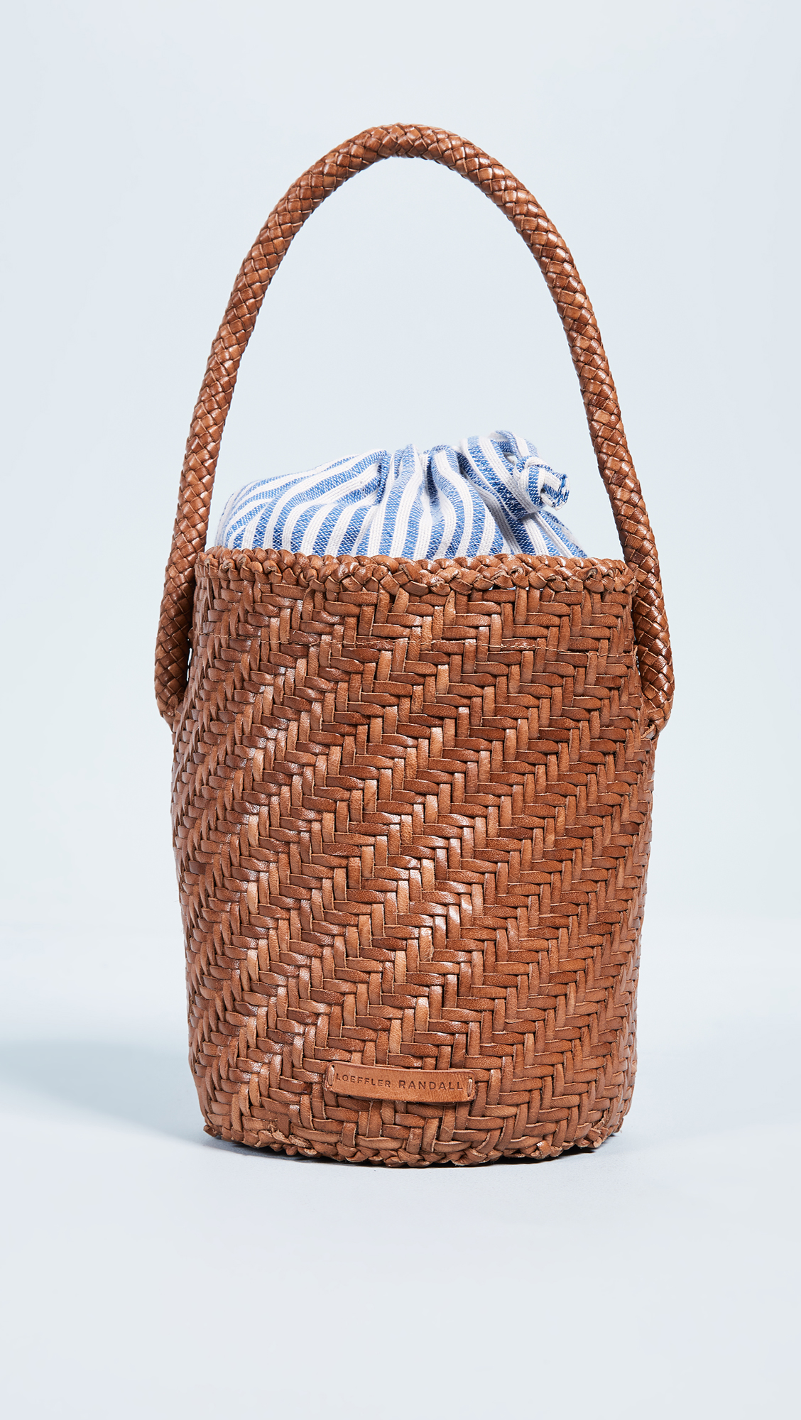 Woven Leather Bucket Bag with Stripe Lining