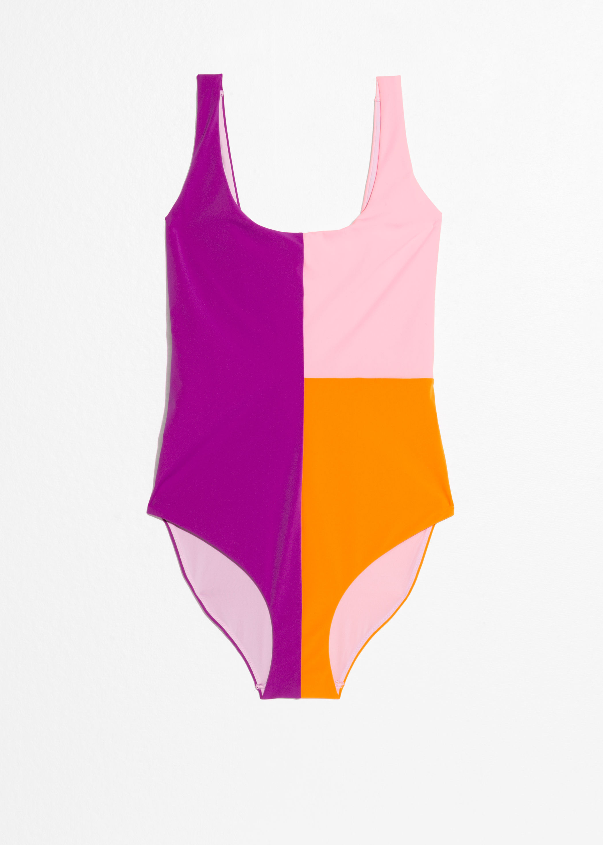 Pink Color Block One Piece Swimsuit