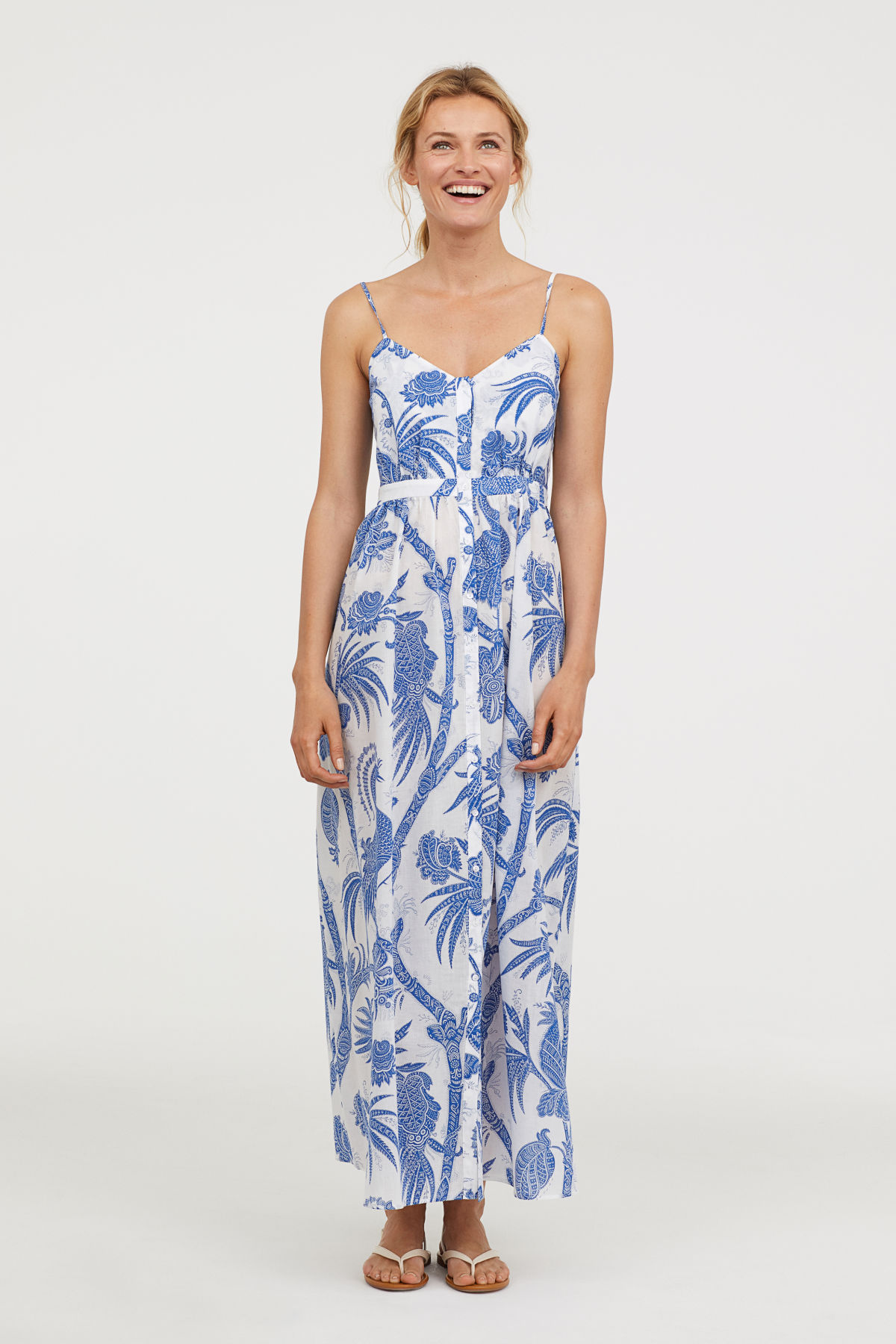 Blue and White Cotton Floral Maxi Dress