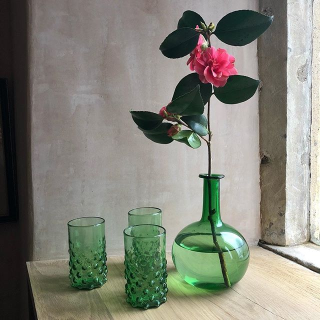 Green recycled glasses and vase in Cutter Brooks, Amanda Brooks' new boutique in the Cotswolds