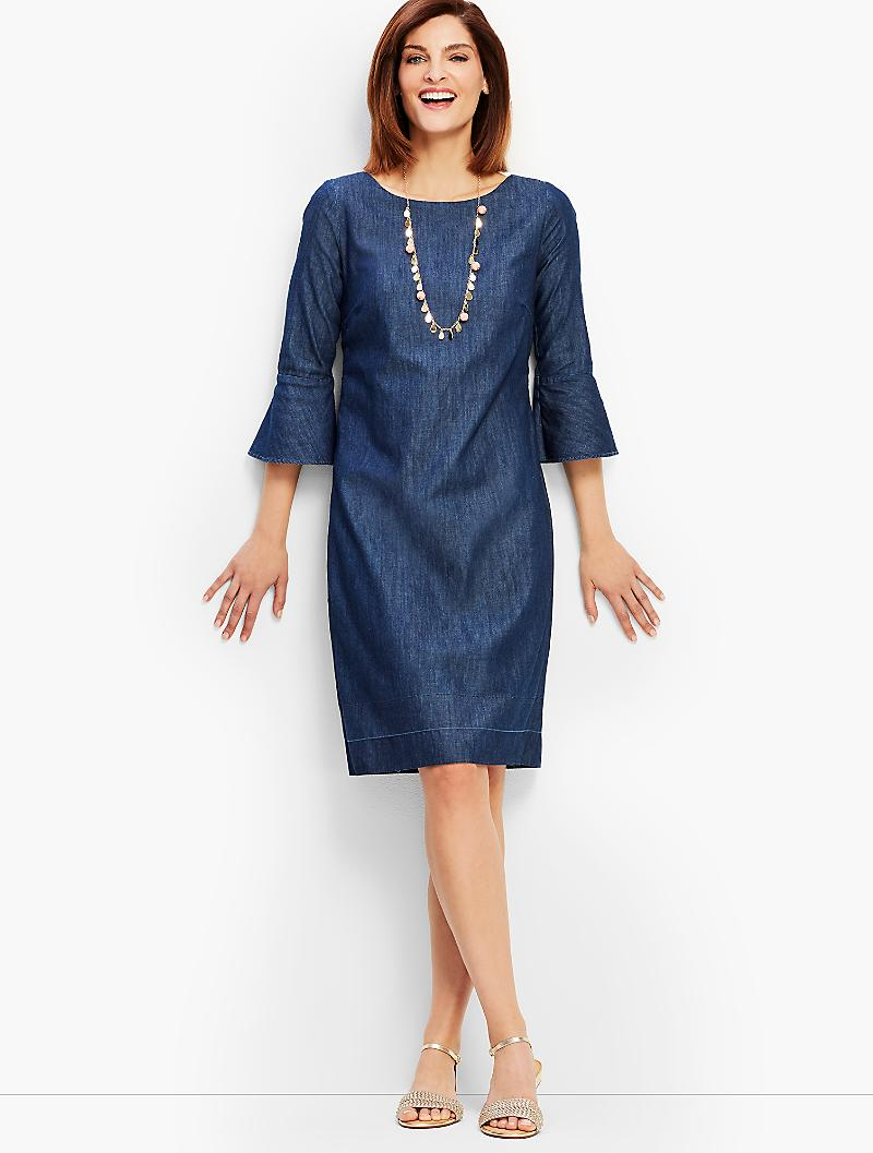 Denim Shift Dress with Bell Sleeves