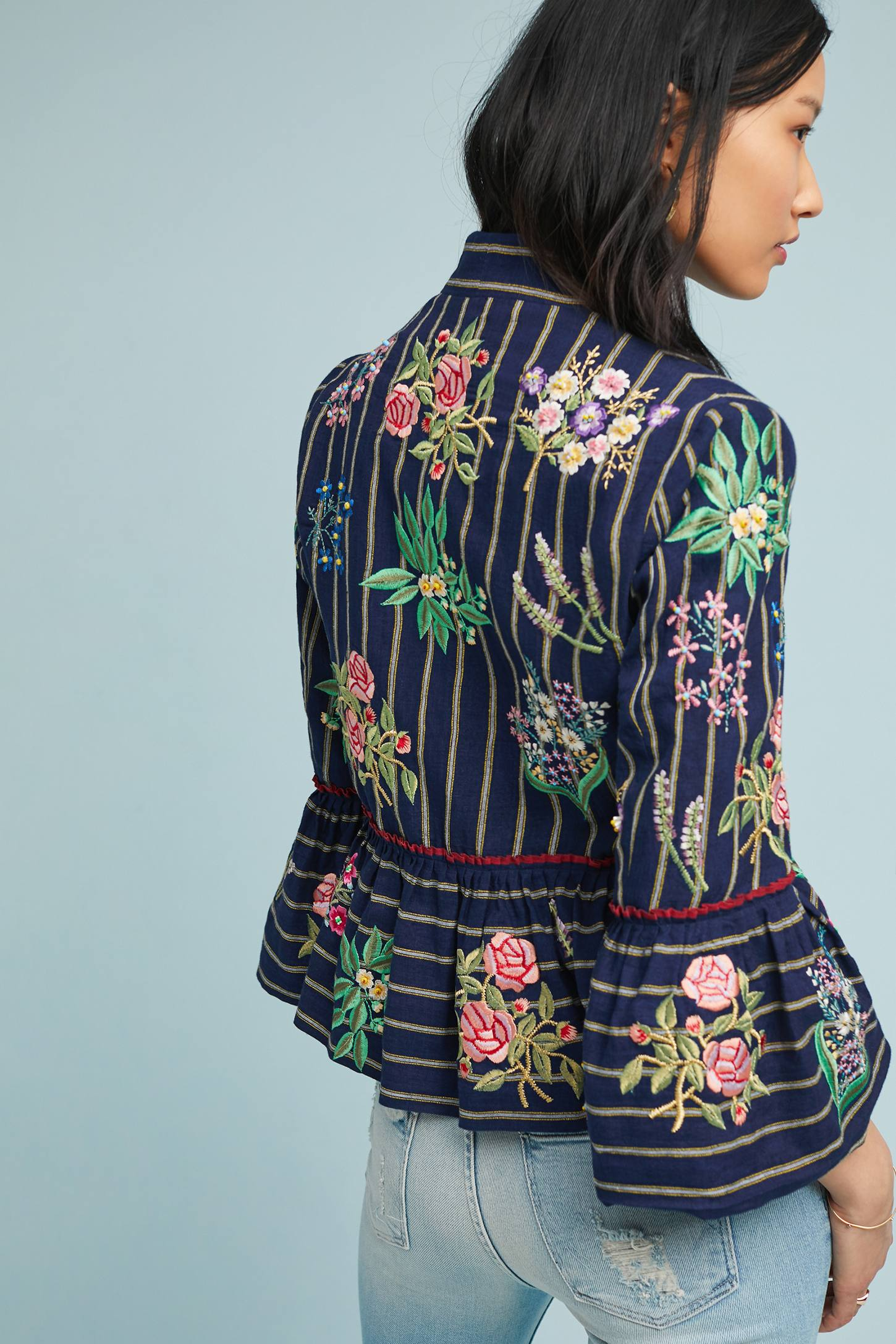 Floral Embroidered Peplum Jacket Navy Blue Stripes