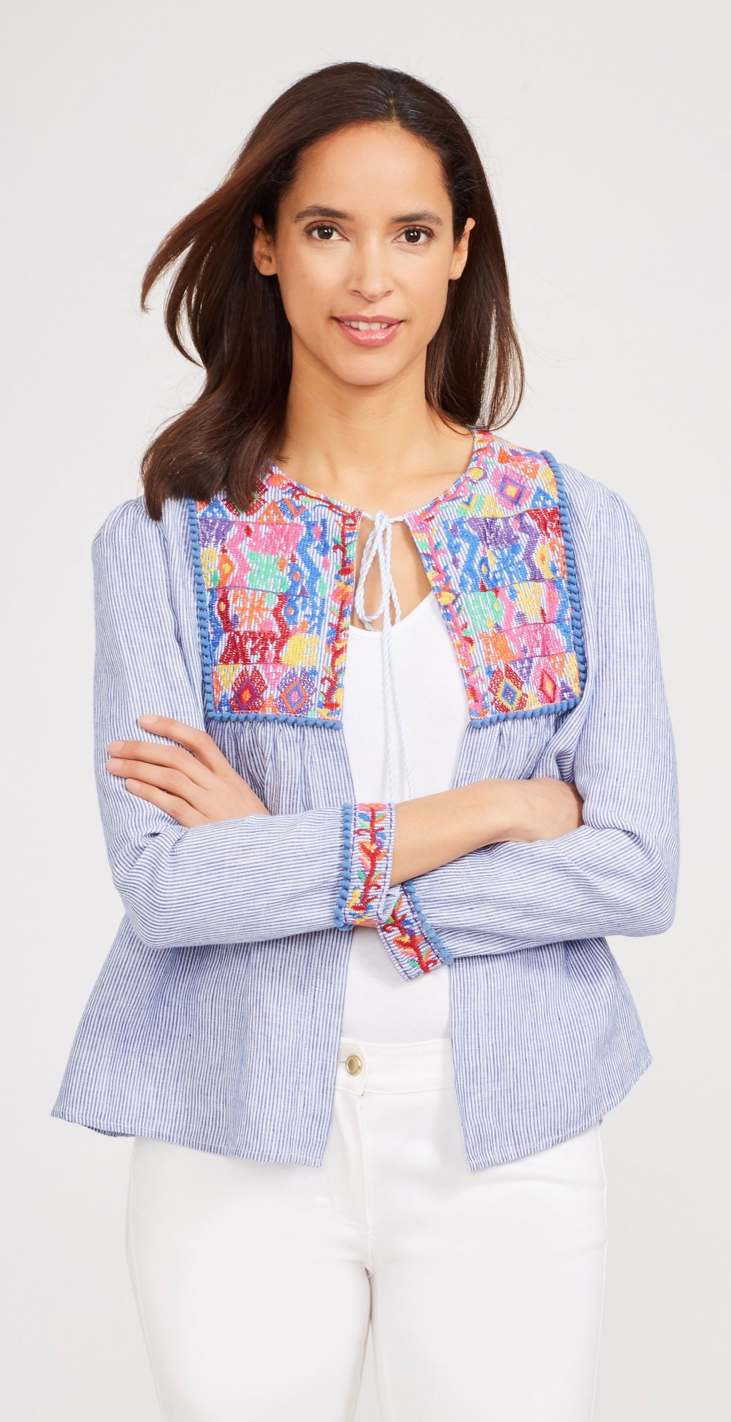 Blue Stripe Embroidered Jacket