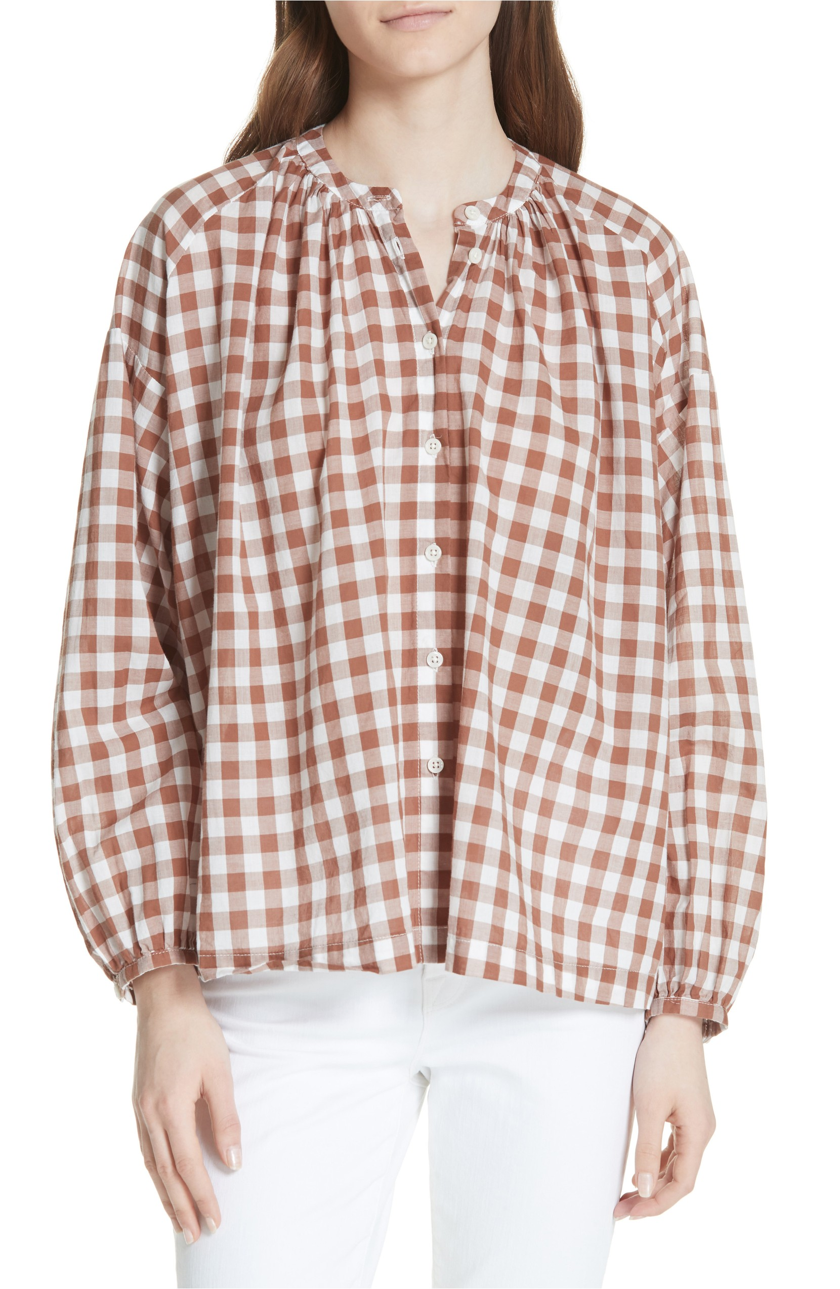 Gingham Button Up Long Sleeve Top