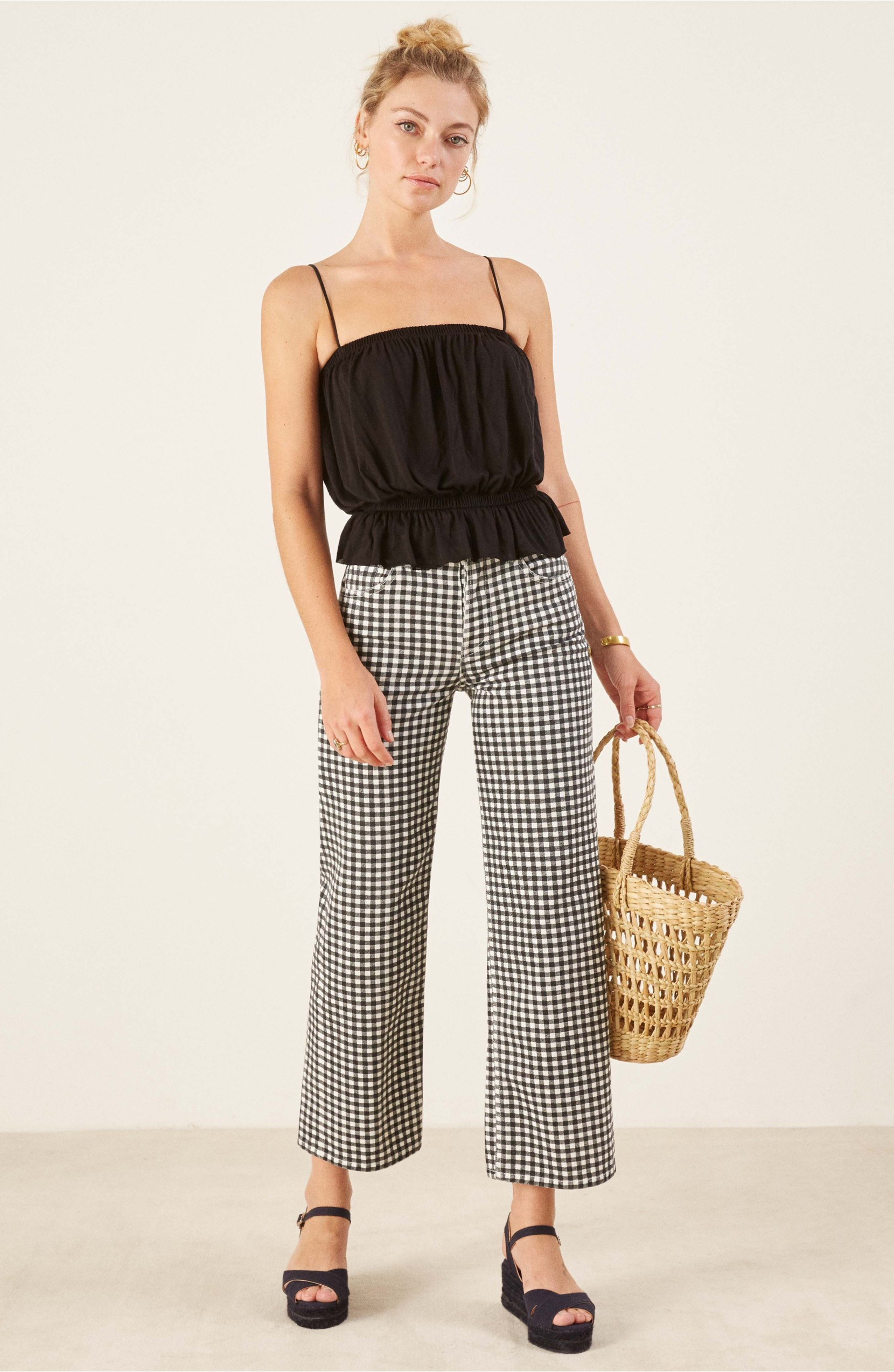 Gingham High-Waist Crop Jeans Straw Basket Bag
