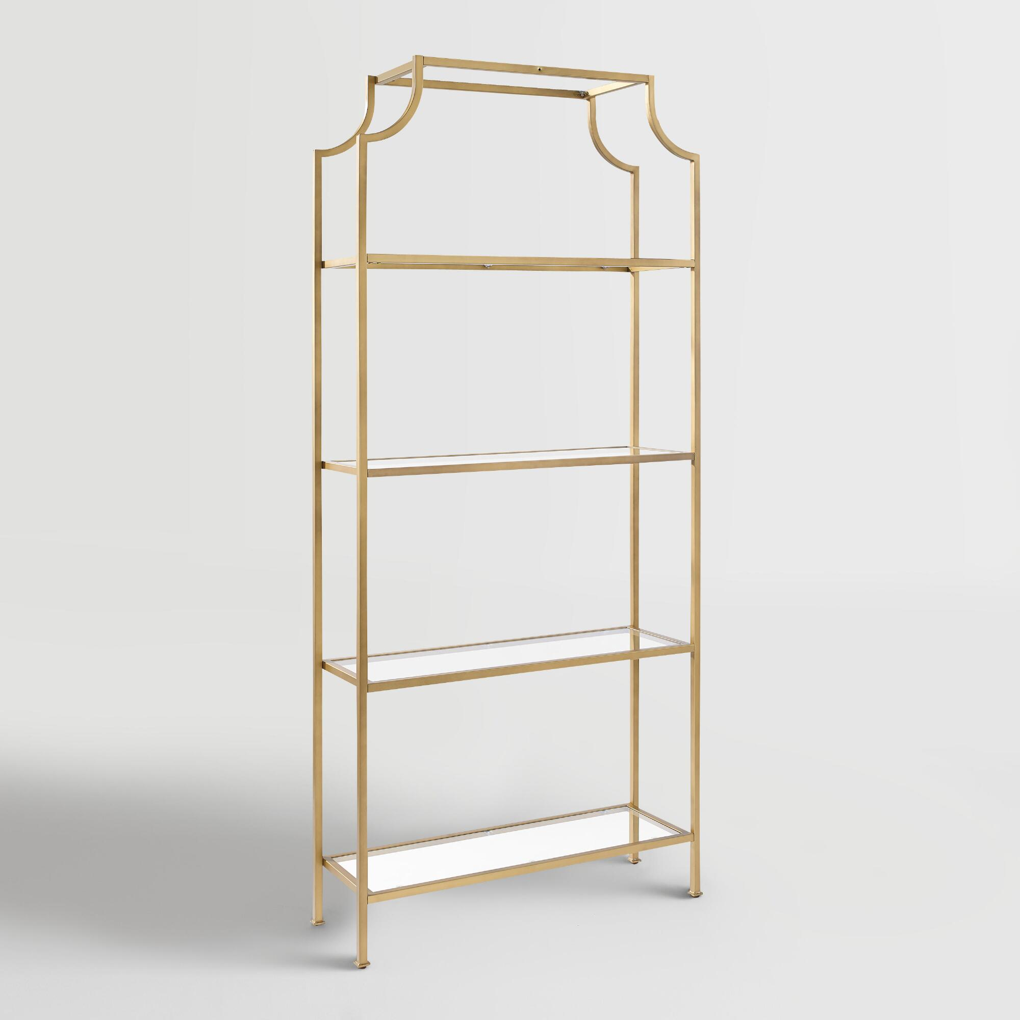Gold Brass Etagere Glass Shelves Bookcase