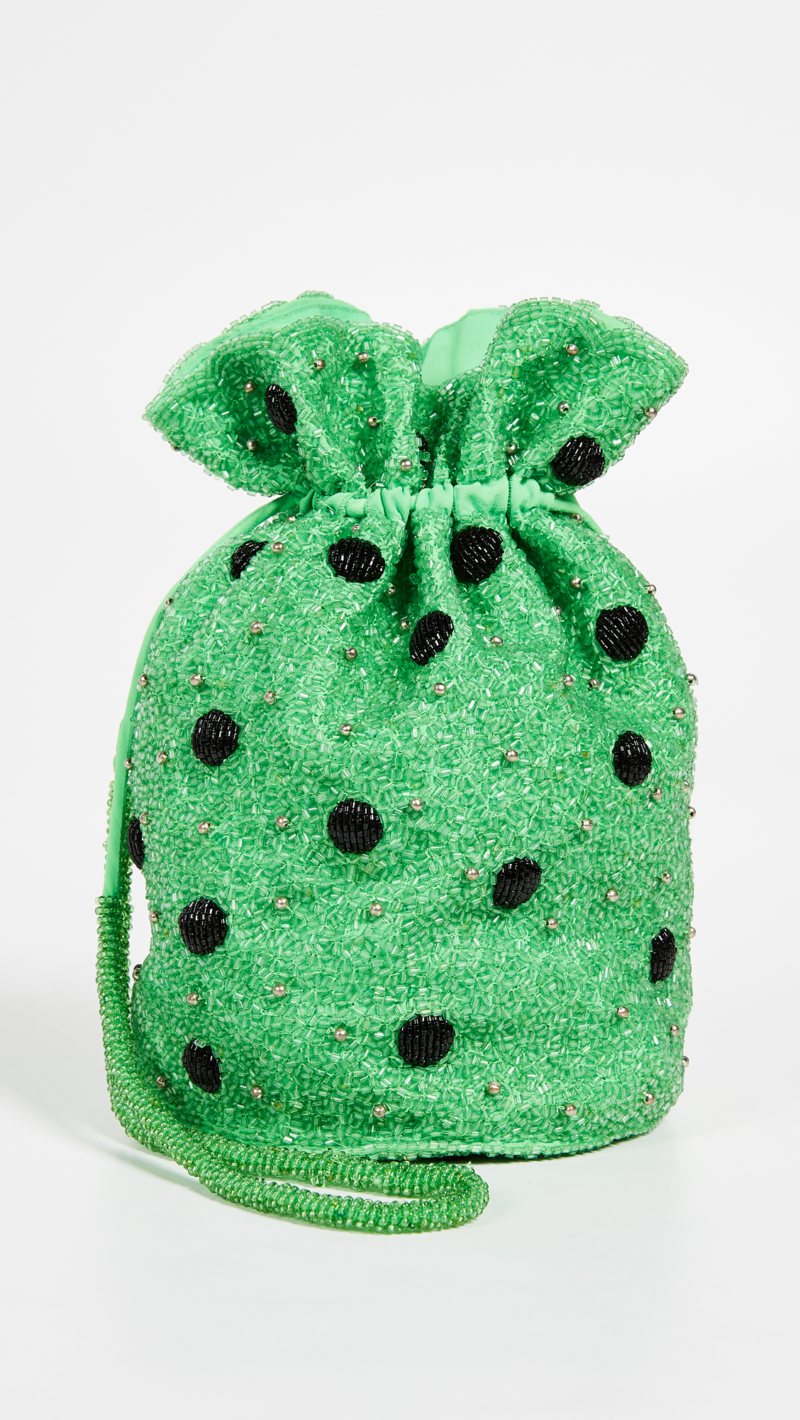 Green Beaded Polka Dot Bucket Bag Ganni