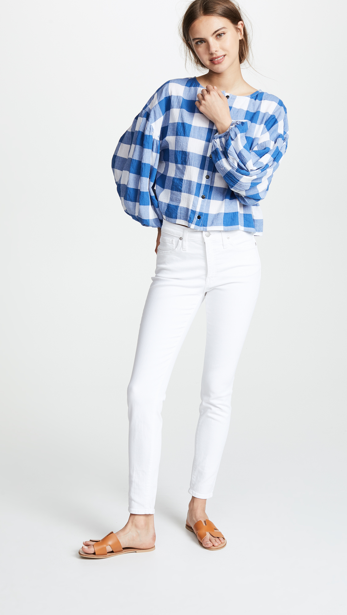 White Madewell Jeans Blue Gingham Top