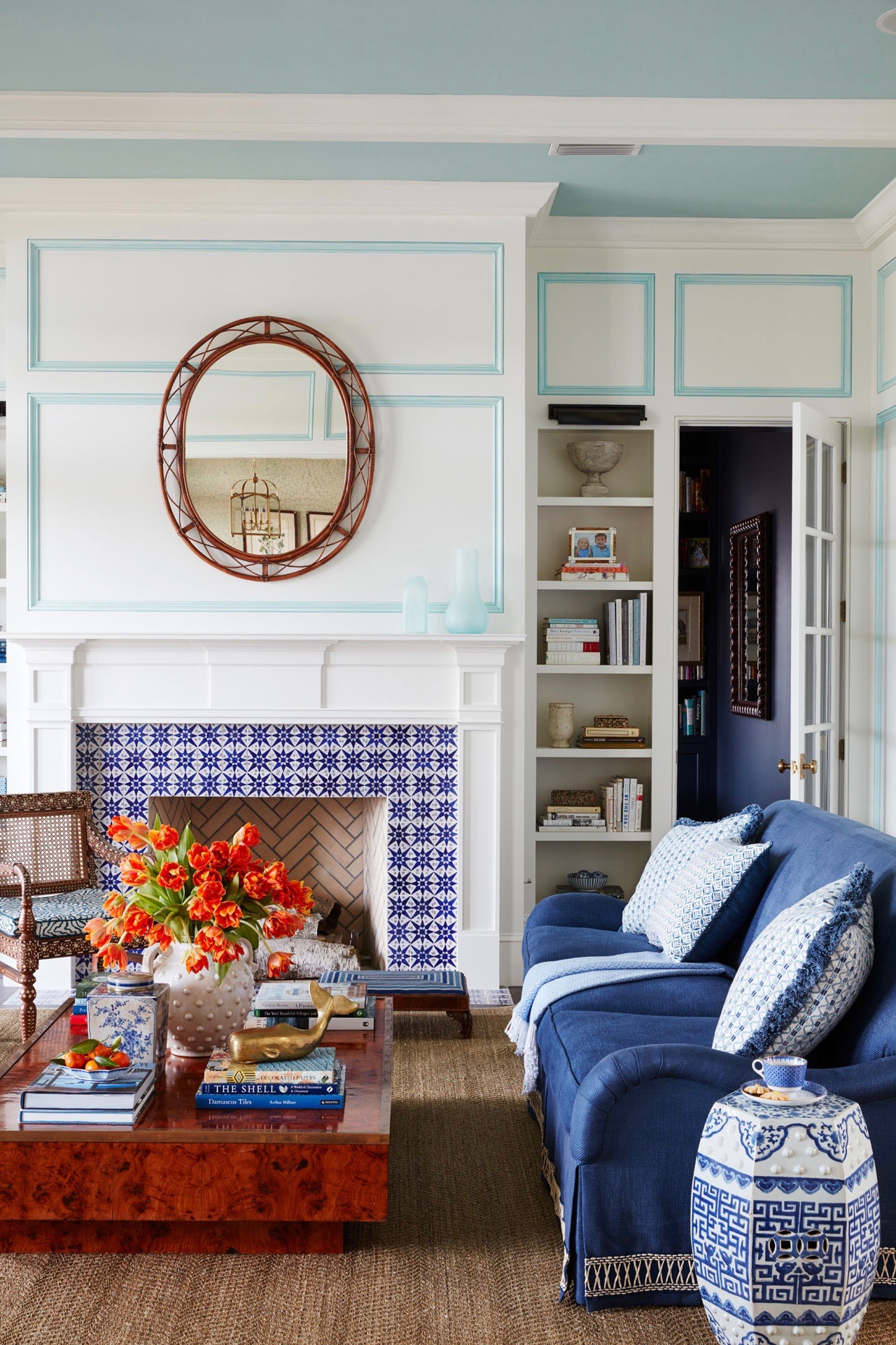 A Classic Blue And White Living Room The Painted Trim