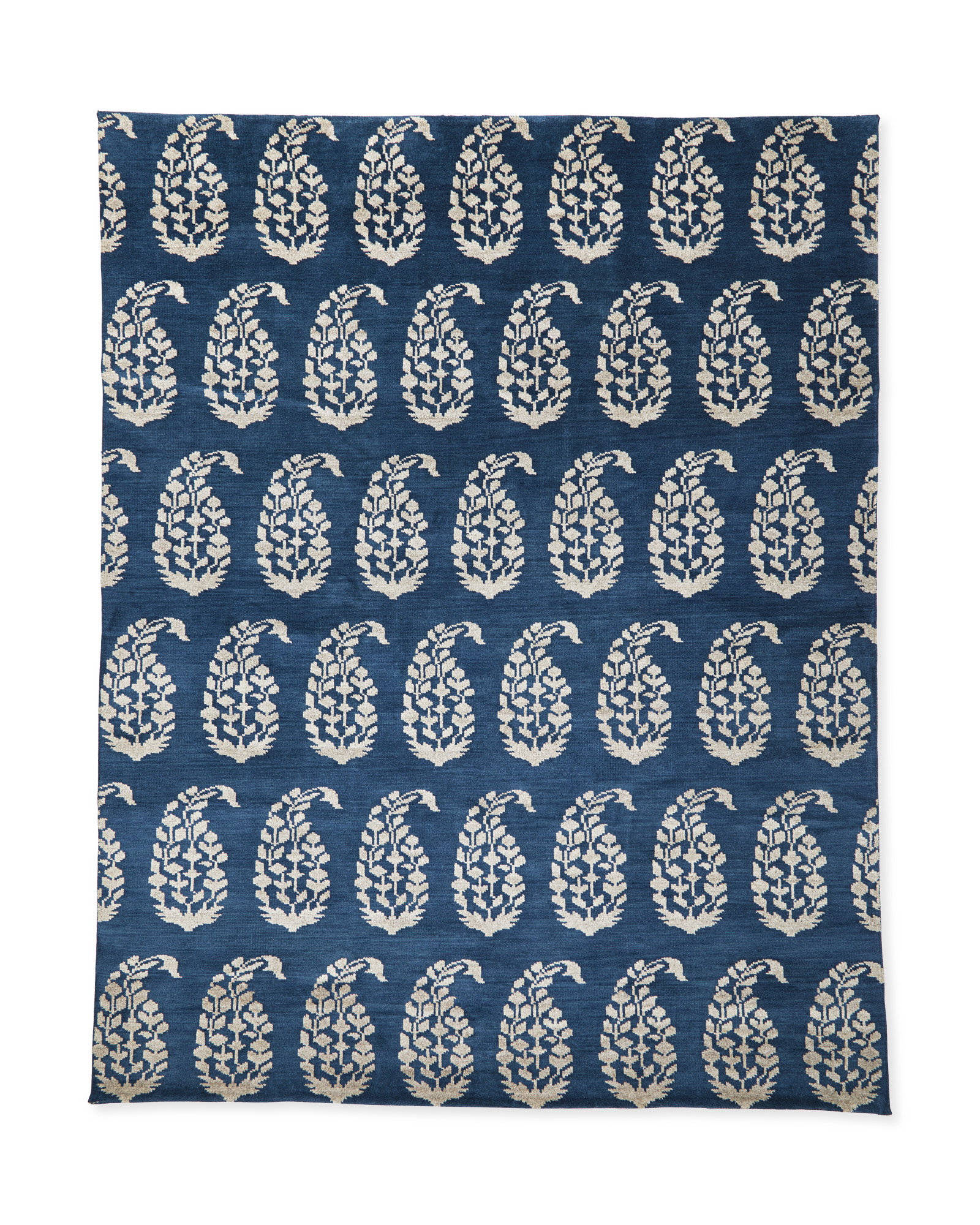 Navy Blue Hand Knotted Paisley Rug