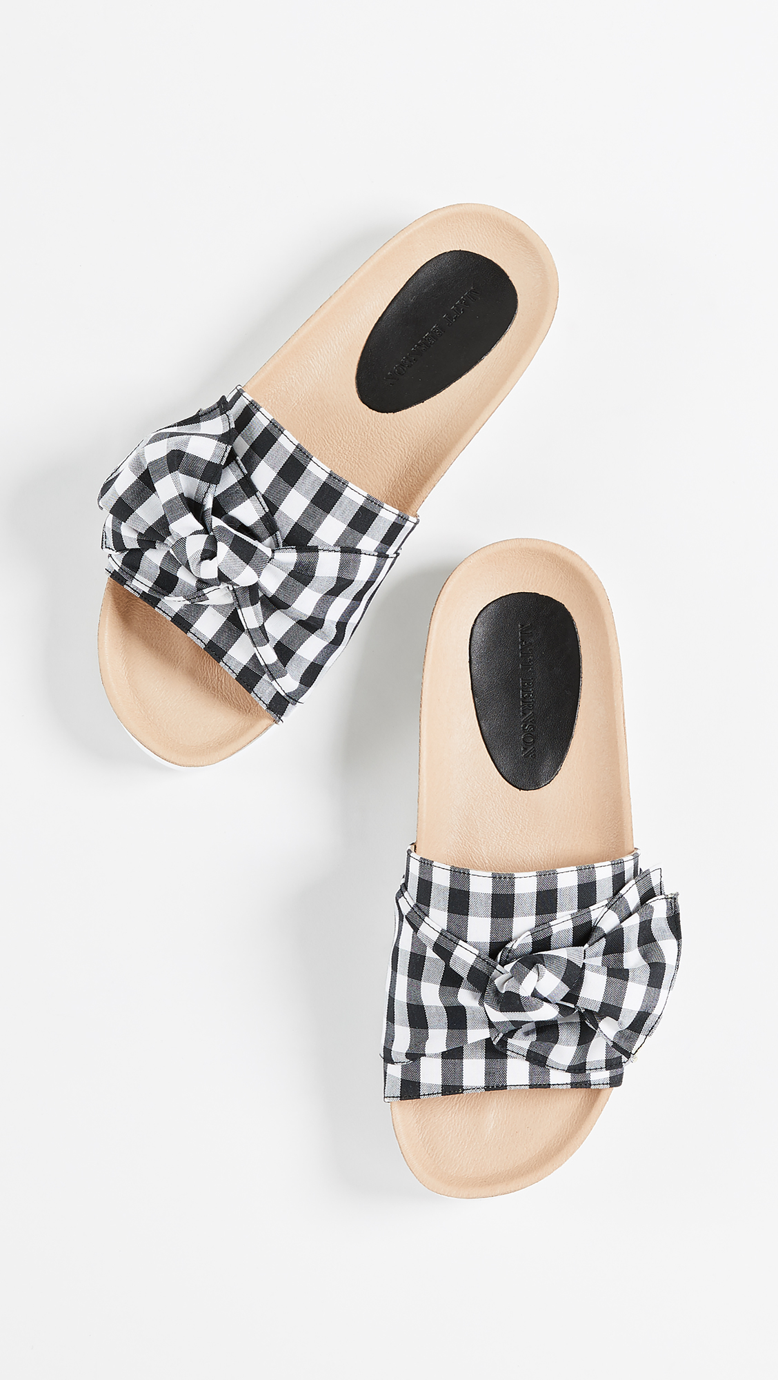 Gingham Bow Slide Sandals Black White