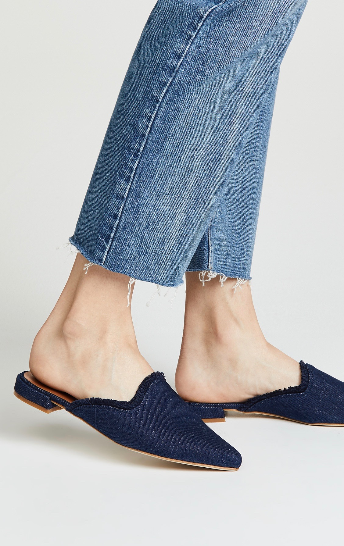 Matt Bernson Dark Denim Point Toe Mules