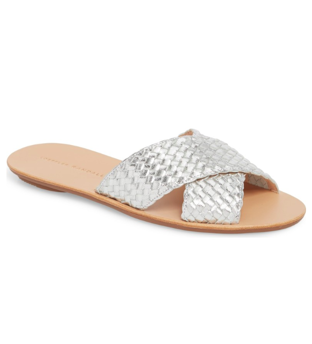 Metallic Silver Leather Woven Slide Sandals
