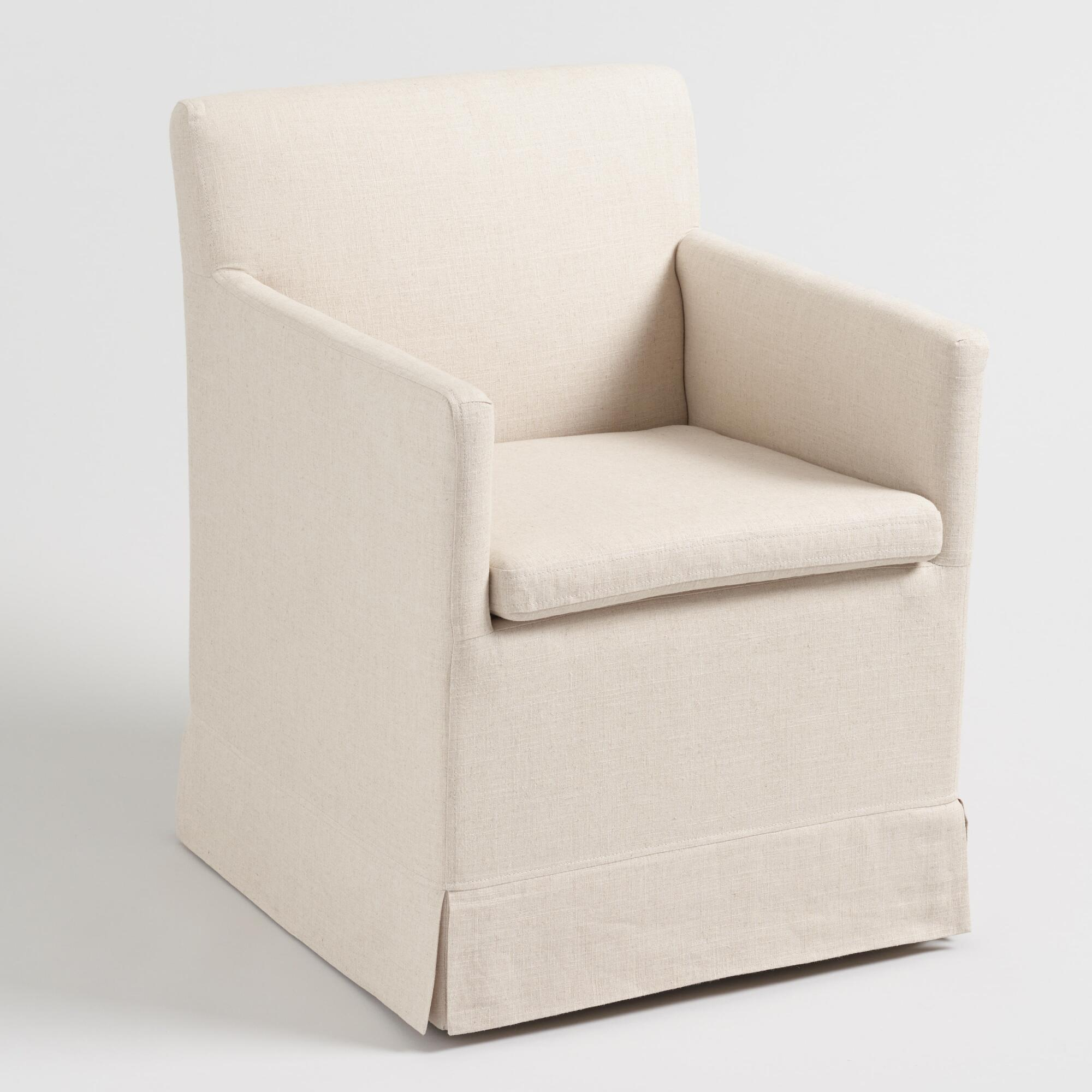 Natural Linen Armchair with Casters