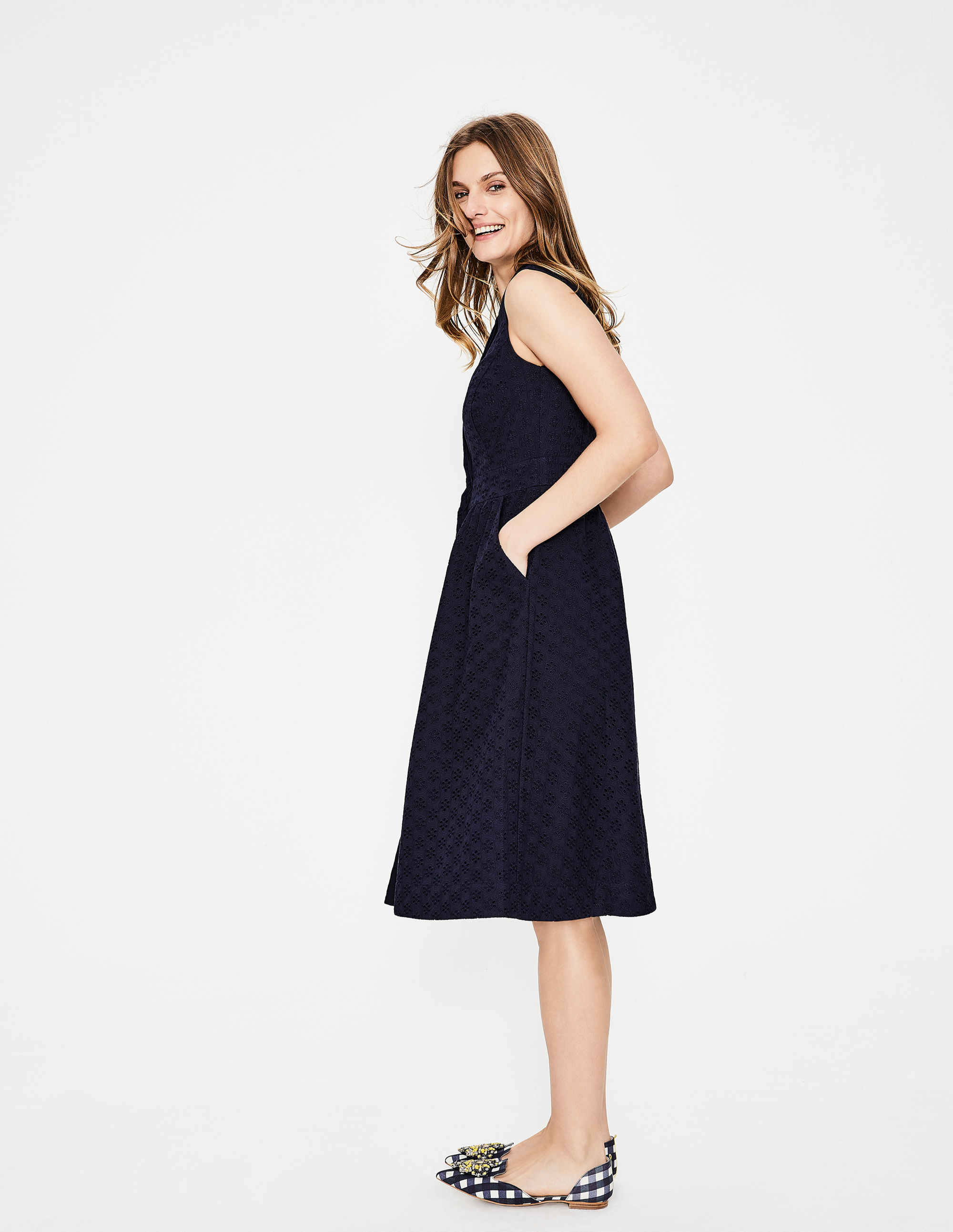 Navy Eyelet Sleeveless Shirt Dress