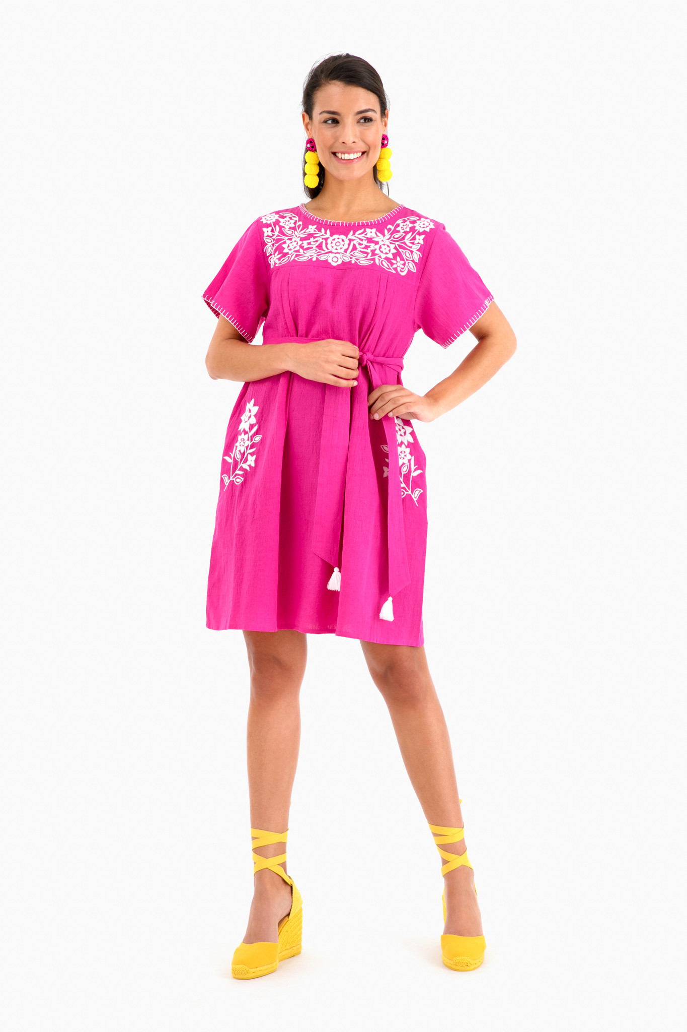 Pink Mexican Dress with White Embroidery and Yellow Espadrilles