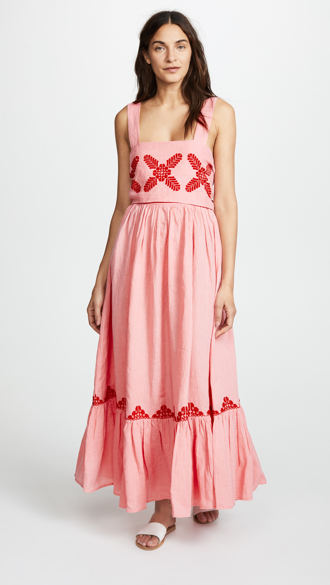 Pink Maxi Dress with Red Embroidery