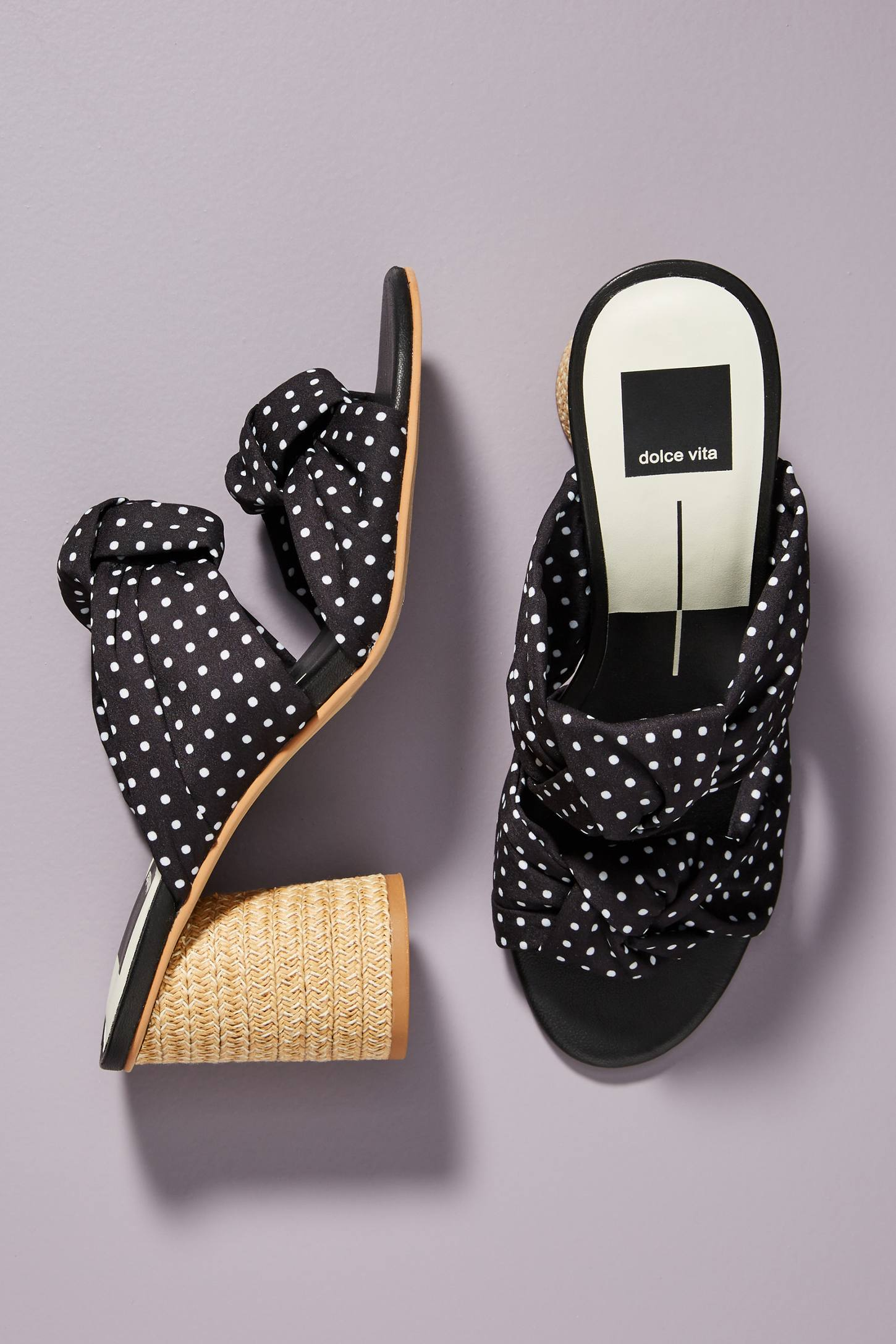 Polka Dot Knotted Heels Black and White