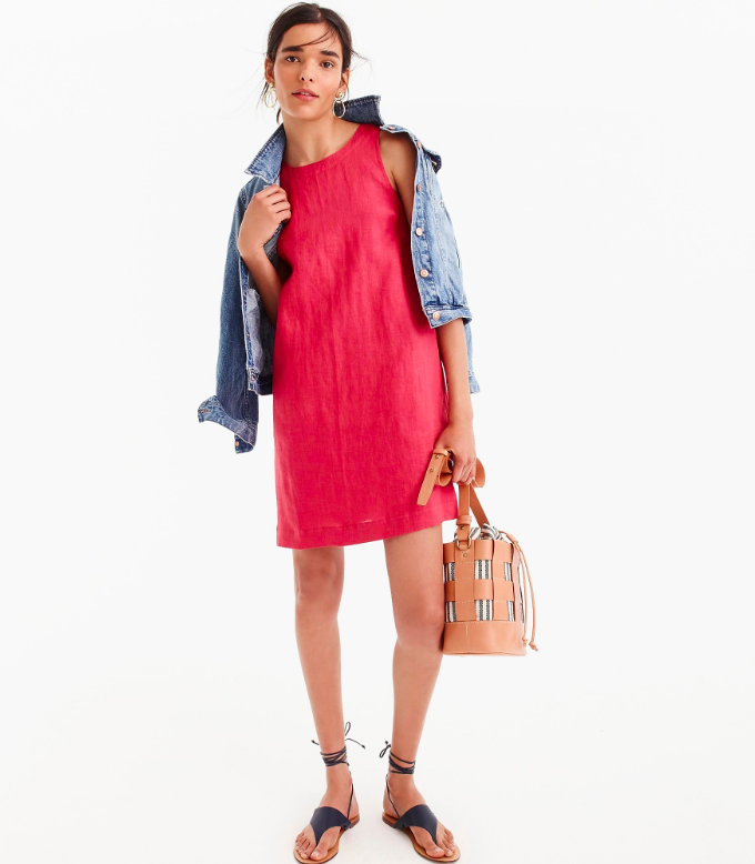 Red Linen Shift Dress