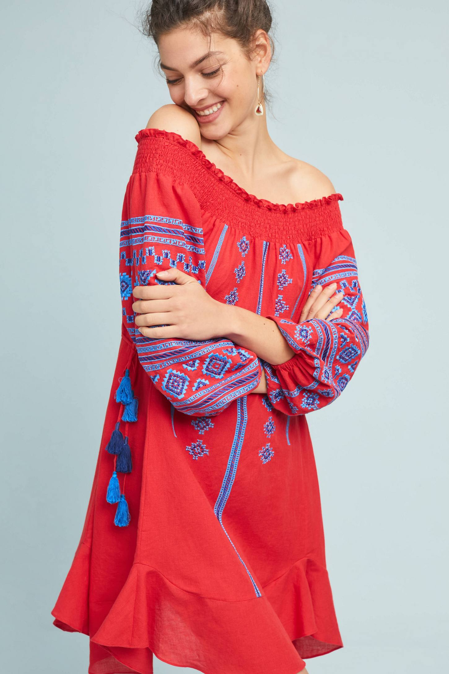 Red Off-the-Shoulder Peasant Dress Bohemian Blue Embroidered