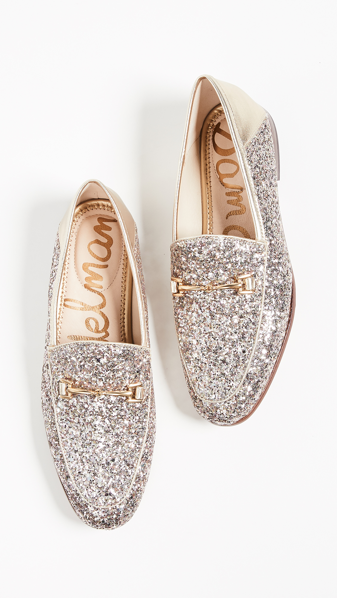 Silver Glitter Loafers Gold