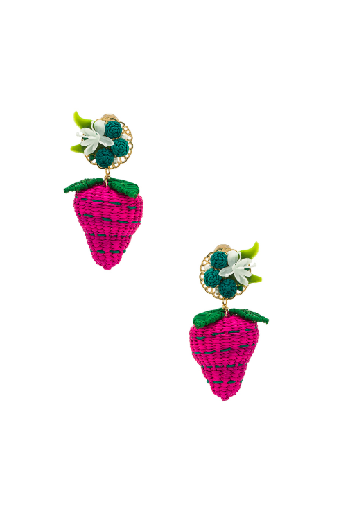 Strawberry Drop Earrings Woven Straw