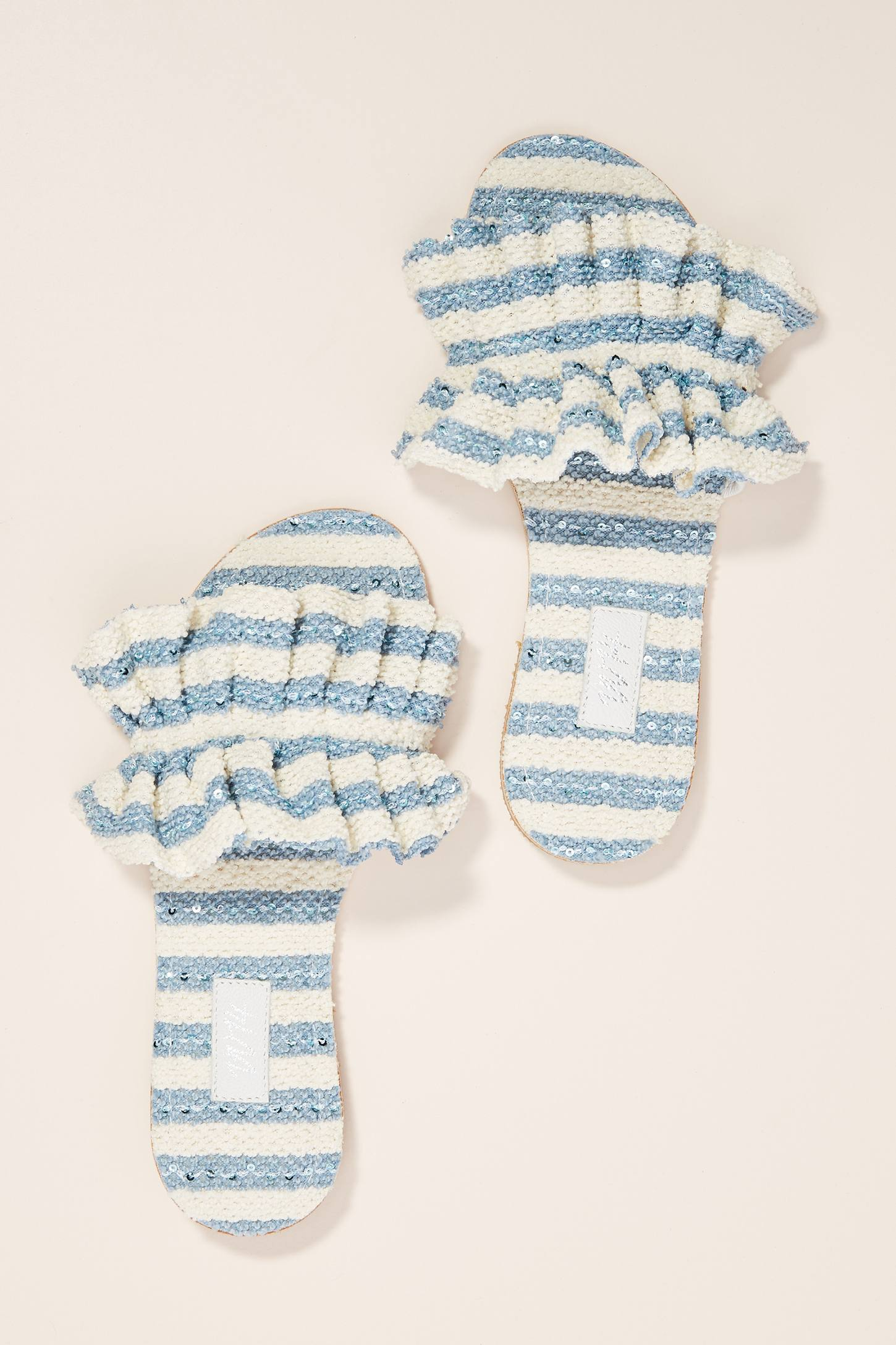 Ruffled Blue and White Slide Sandals