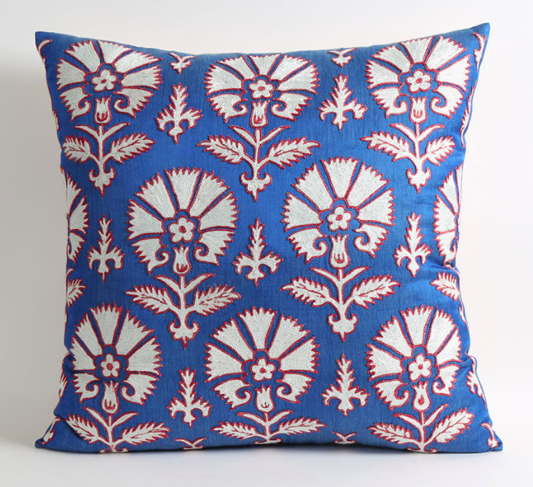 Blue Red Floral Embroidered Suzani Pillows Carnation Print